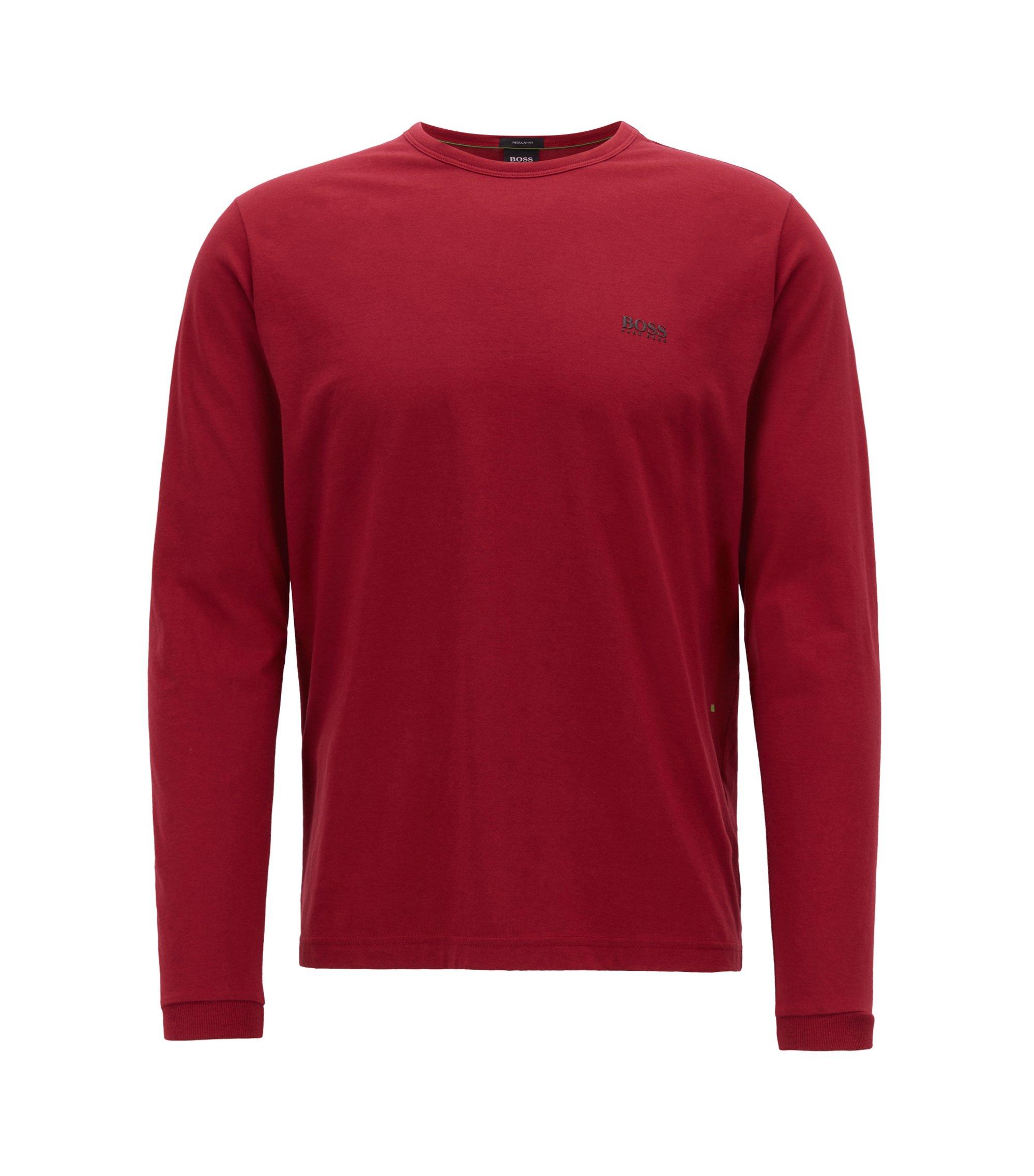 Camiseta de manga larga de algodón con logo en el hombro, Rojo oscuro