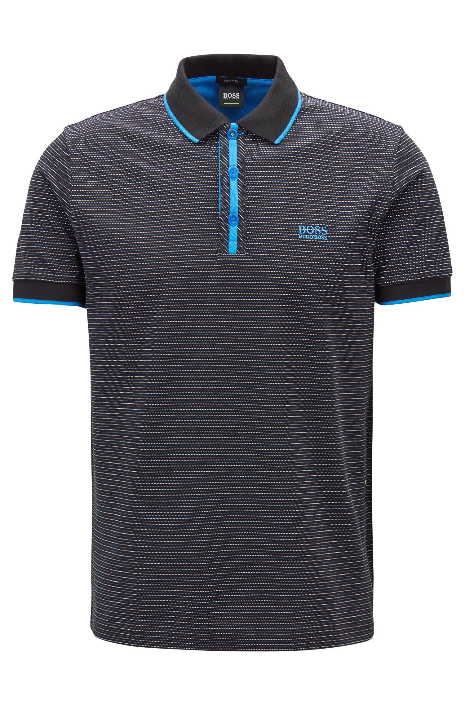Stretch-cotton polo shirt with micro-dot jacquard, Black