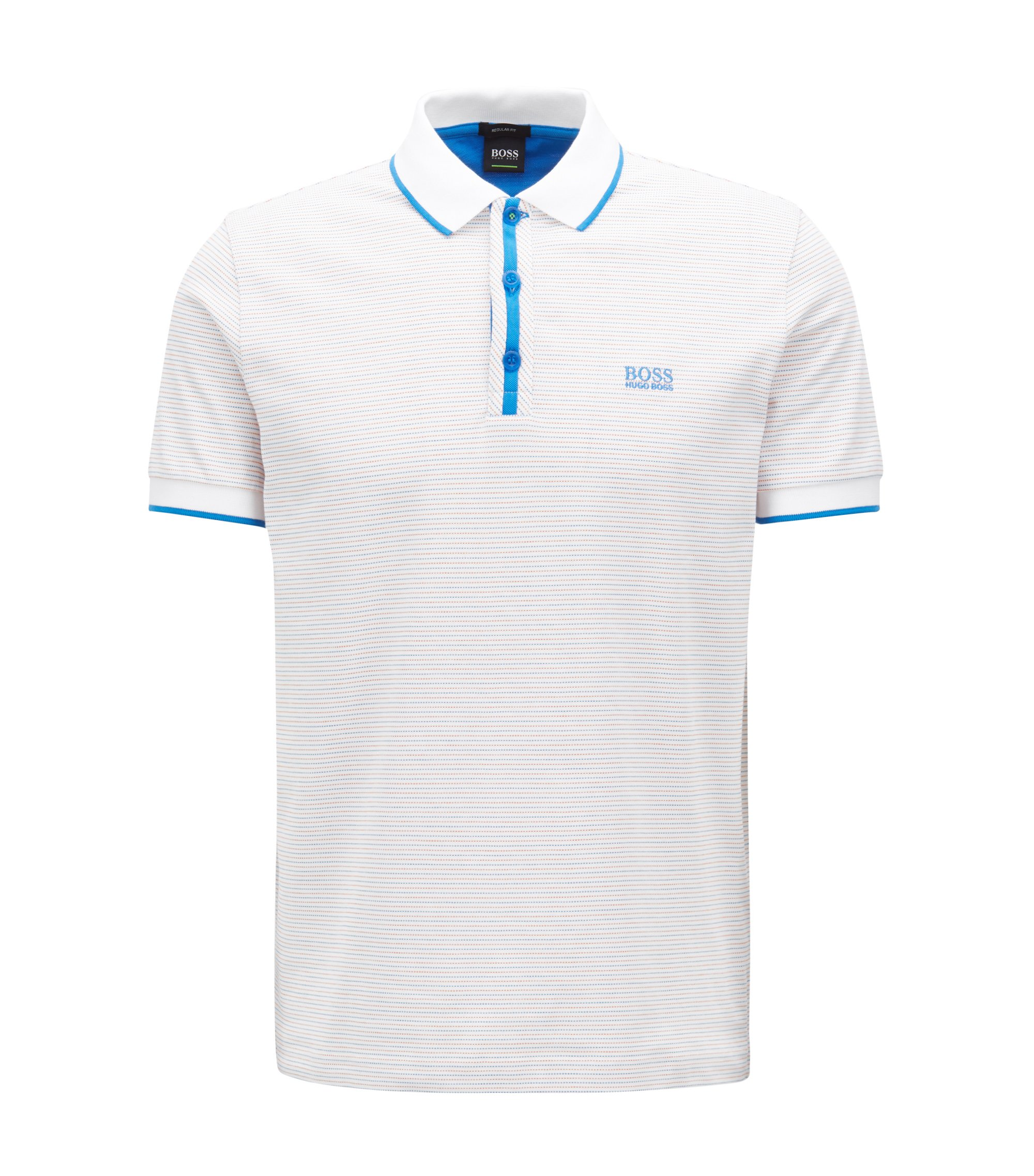 Poloshirt aus gepunktetem Baumwoll-Jacquard, Weiß