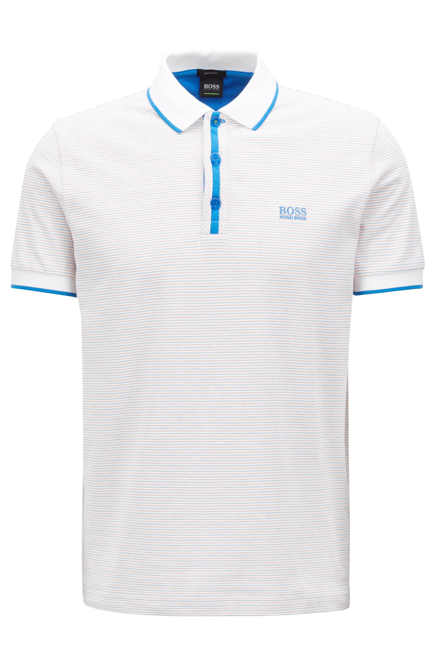 Stretch-cotton polo shirt with micro-dot jacquard, White