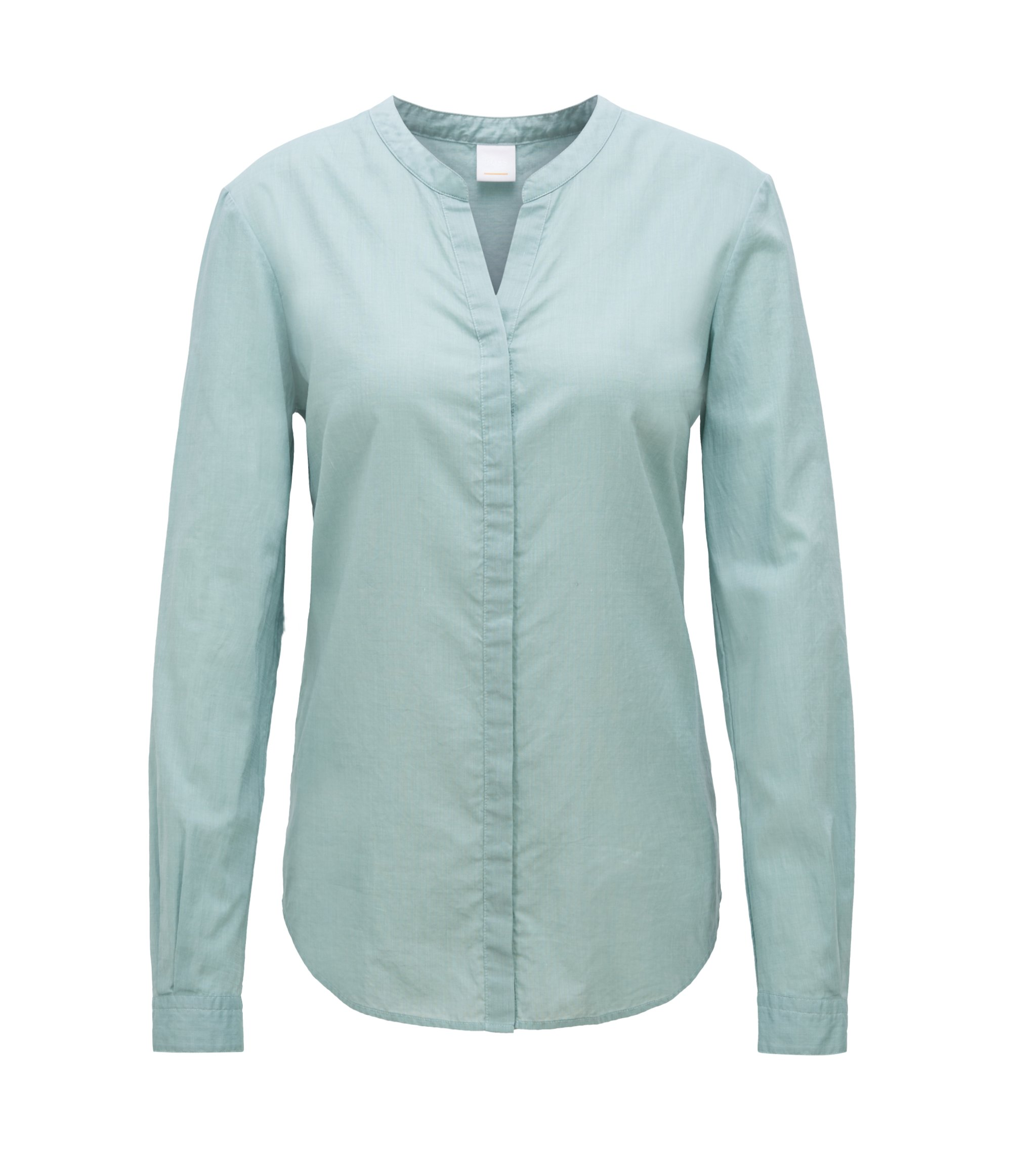 Relaxed-fit blouse in a chambray cotton blend, Light Green