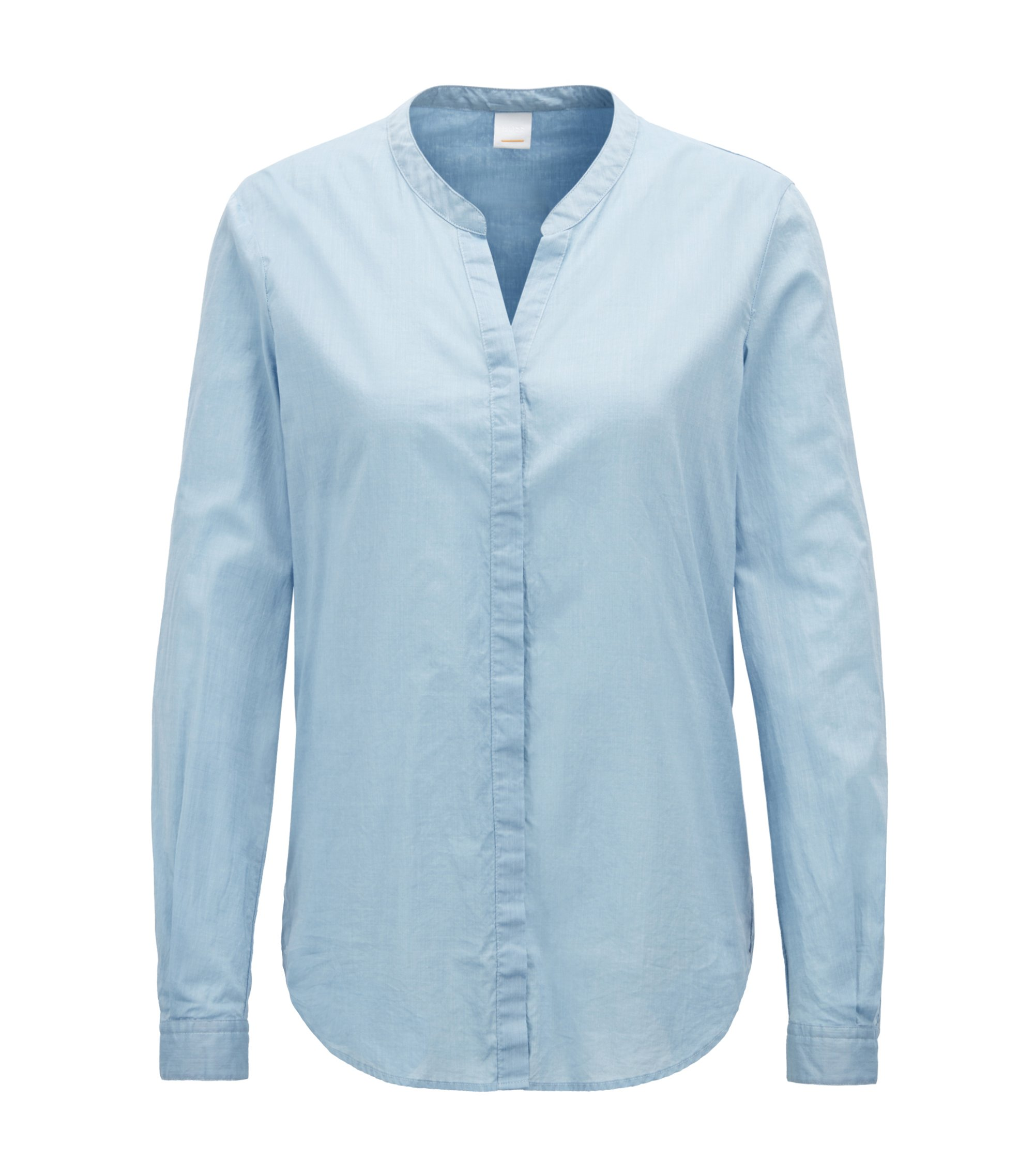Camicetta relaxed fit in misto cotone chambray, Celeste