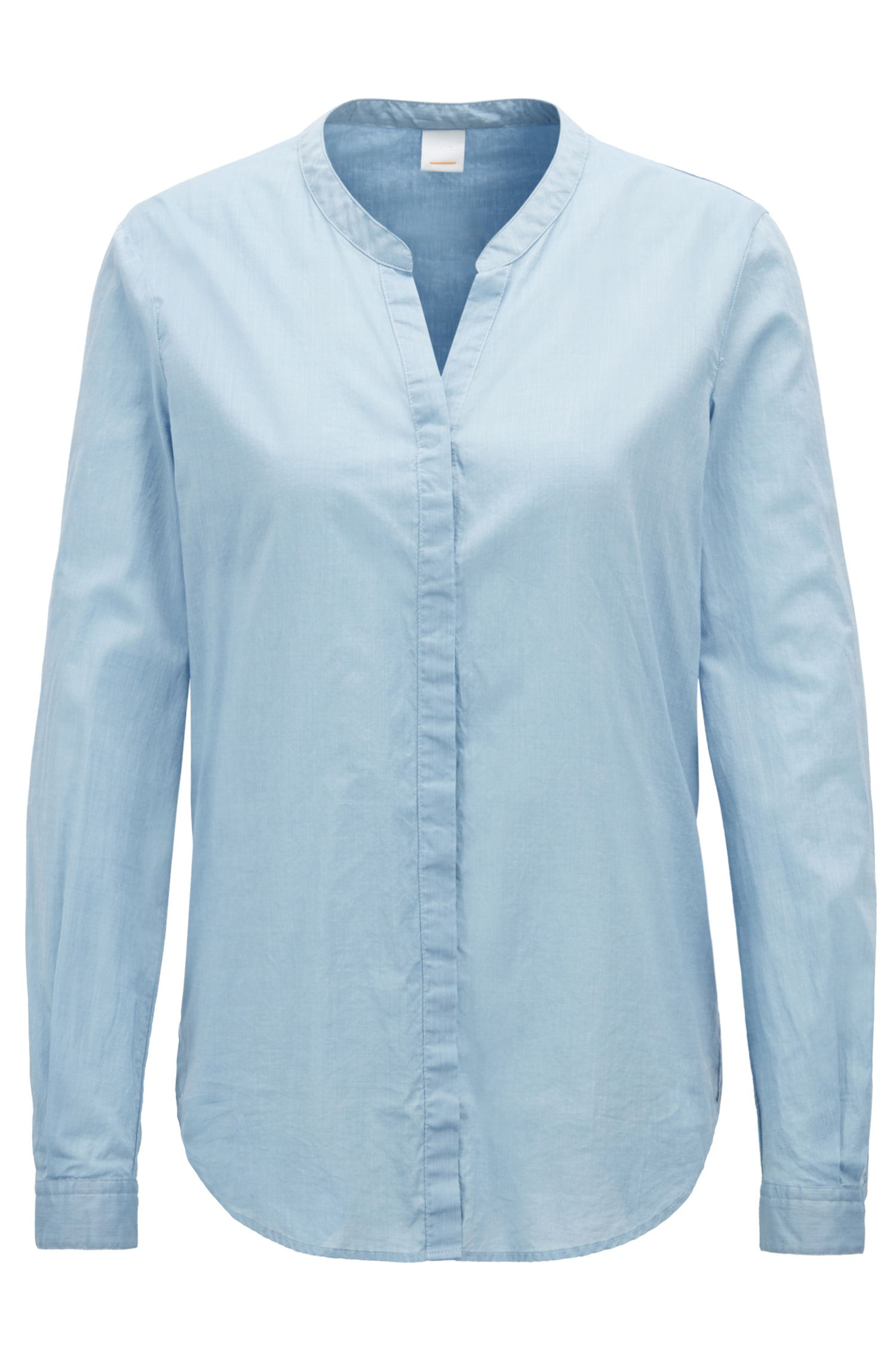 Relaxed-fit blouse in a chambray cotton blend, Light Blue