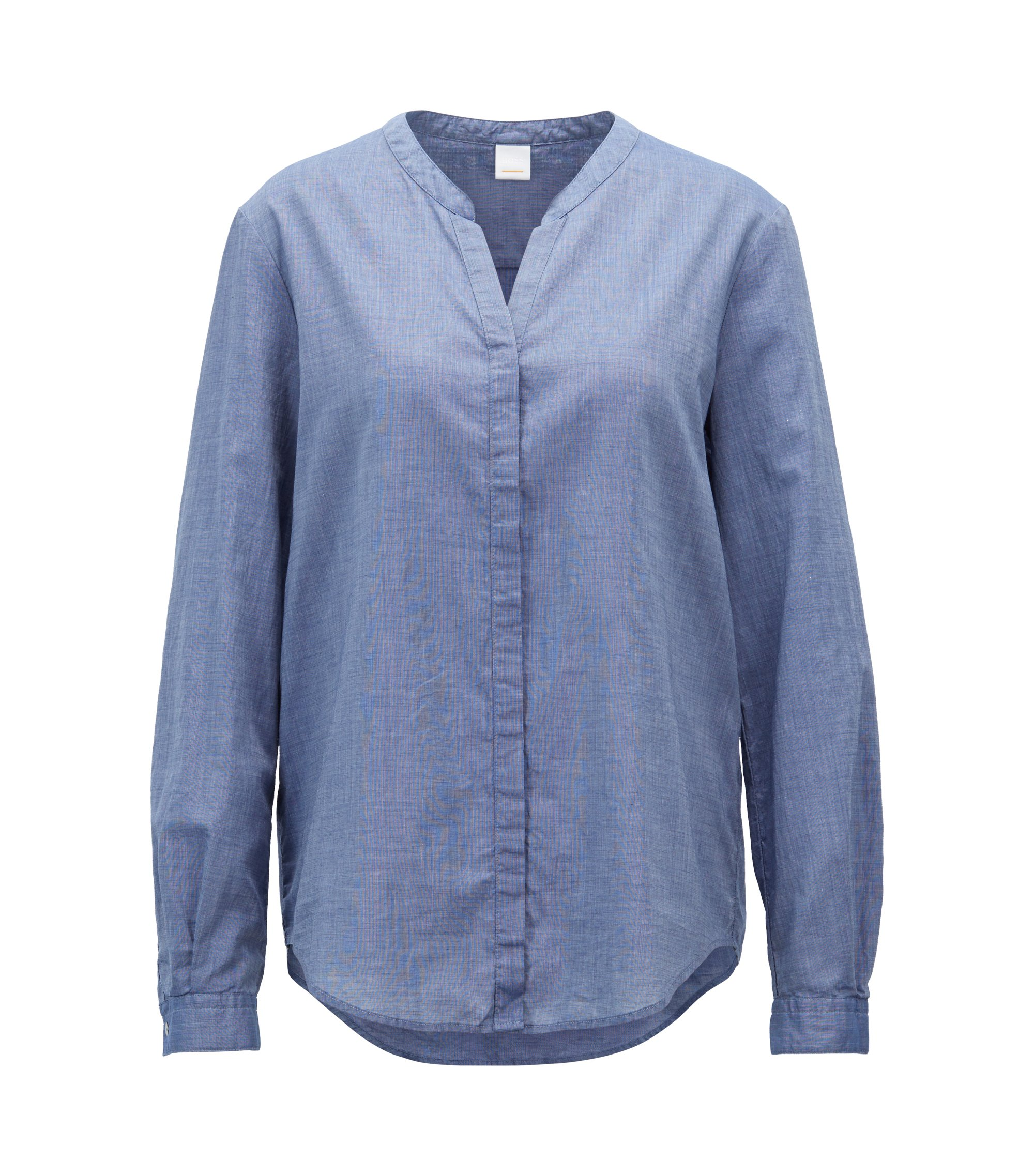 Camicetta relaxed fit in misto cotone chambray, Blue Scuro