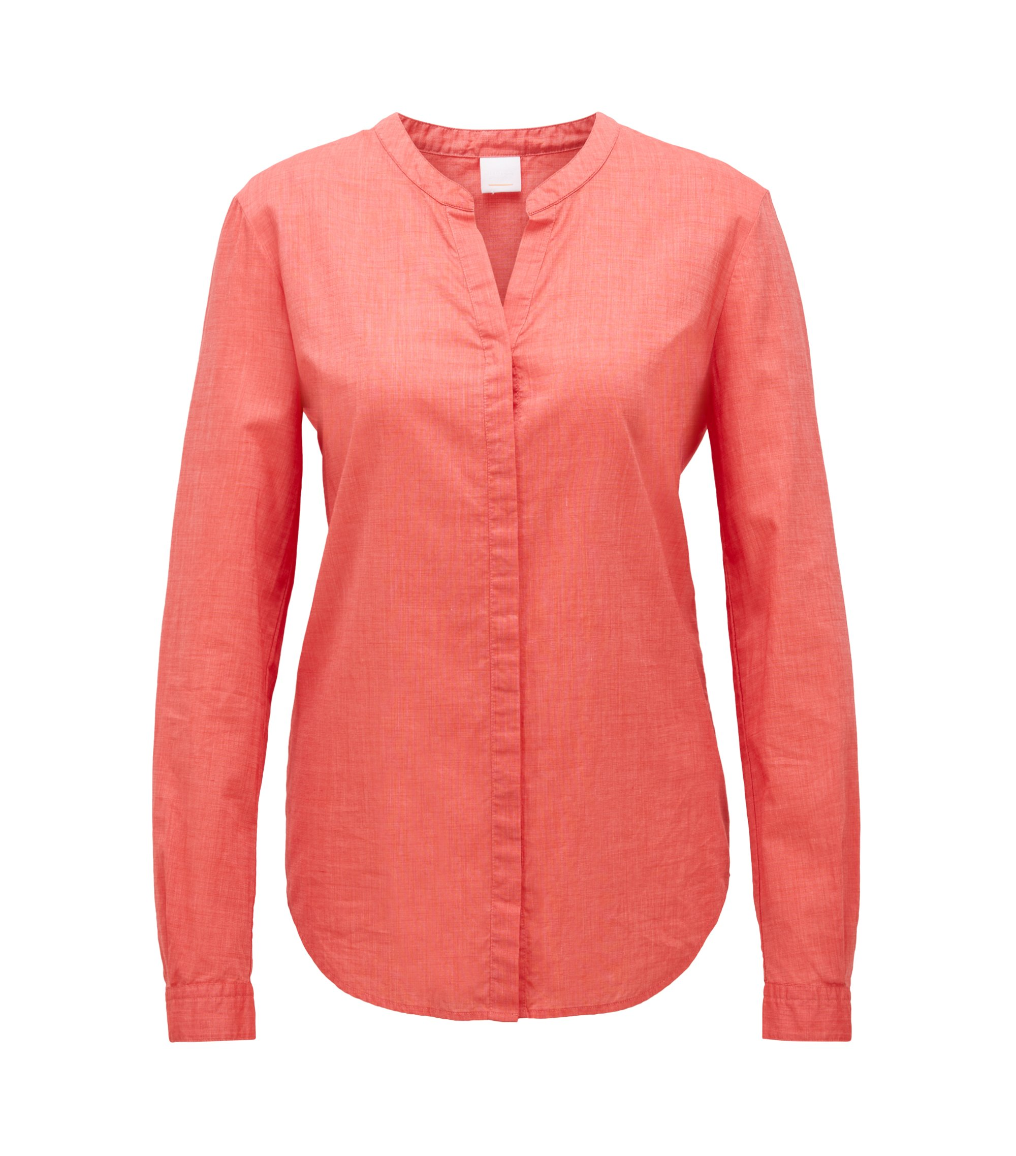 Chemisier Relaxed Fit en chambray de coton mélangé, Rouge
