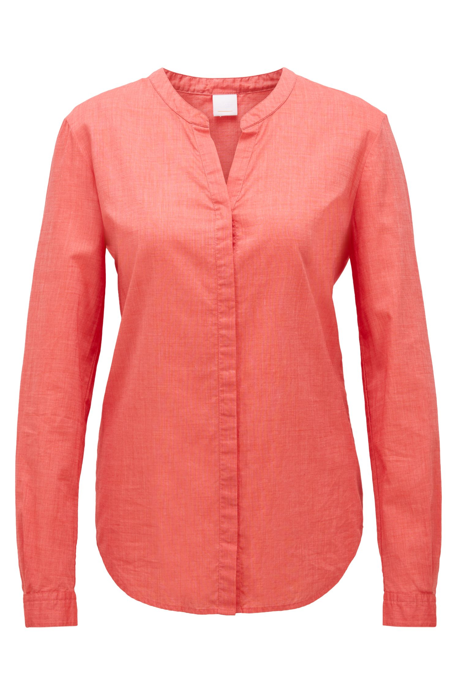 Relaxed-Fit Bluse aus Chambray, Rot
