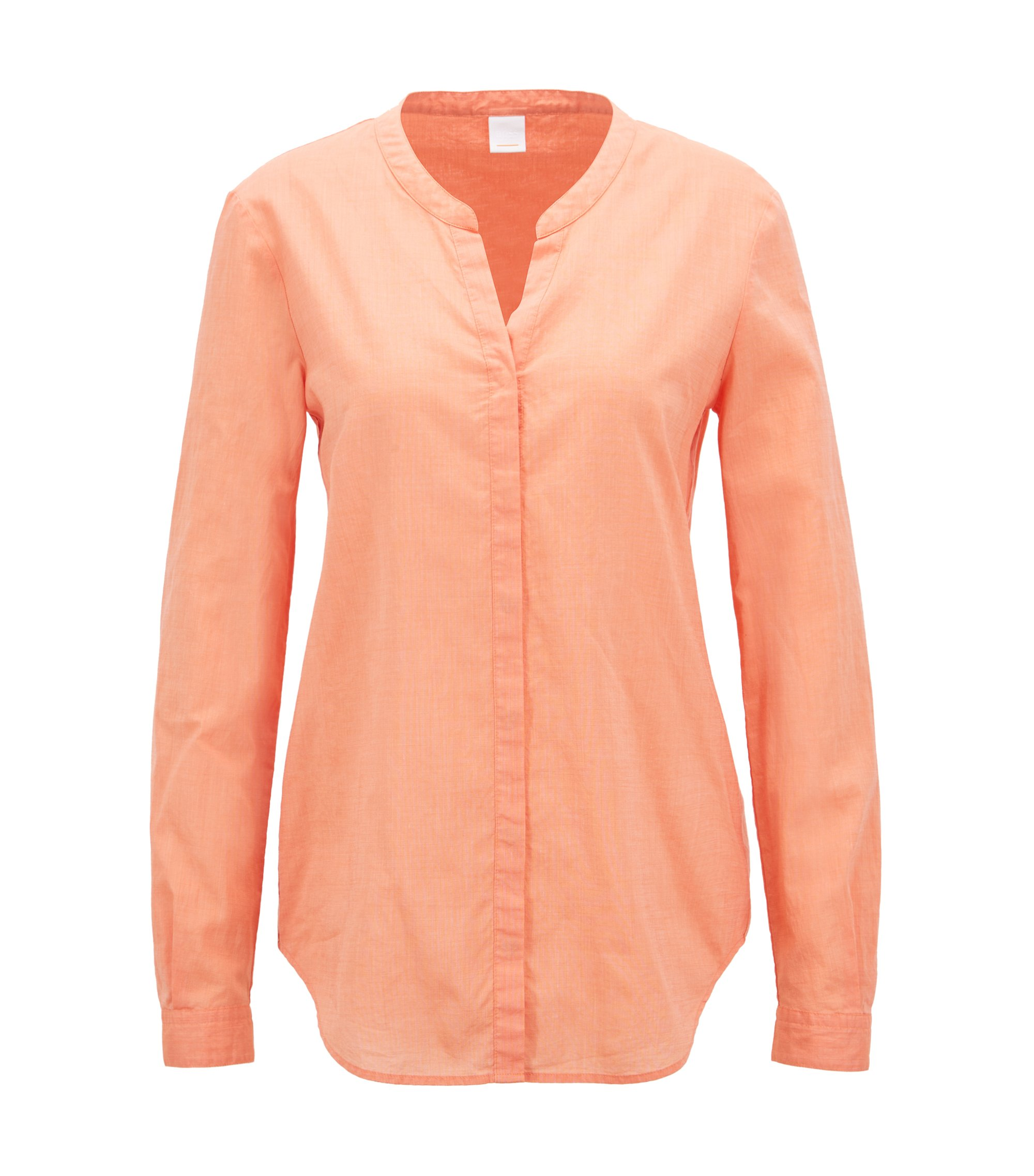 Relaxed-fit blouse in een chambray van een katoenmix, Oranje