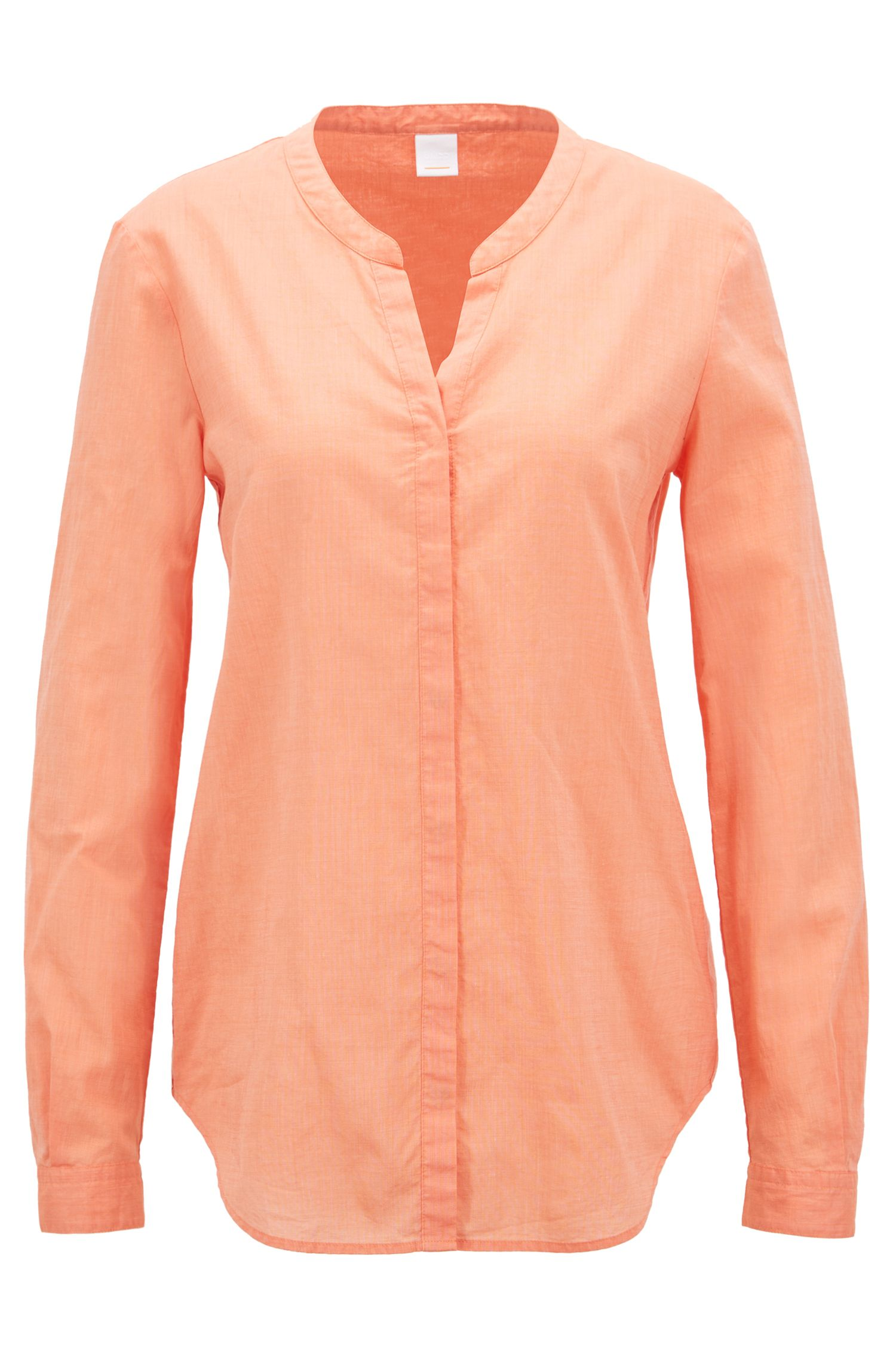 Relaxed-Fit Bluse aus Chambray, Orange