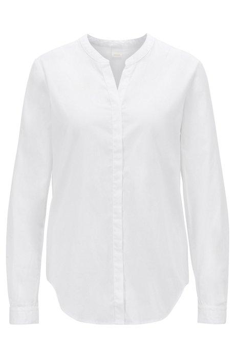 Camicetta relaxed fit in popeline di cotone con scollatura a V, Bianco