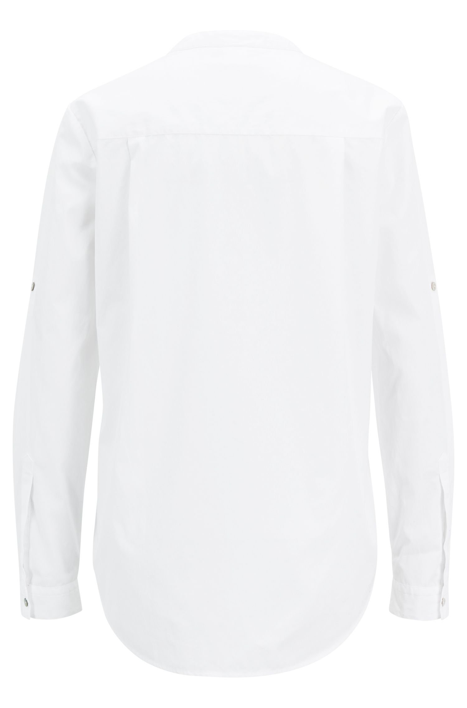 Relaxed-fit cotton-poplin blouse with notched neckline, White