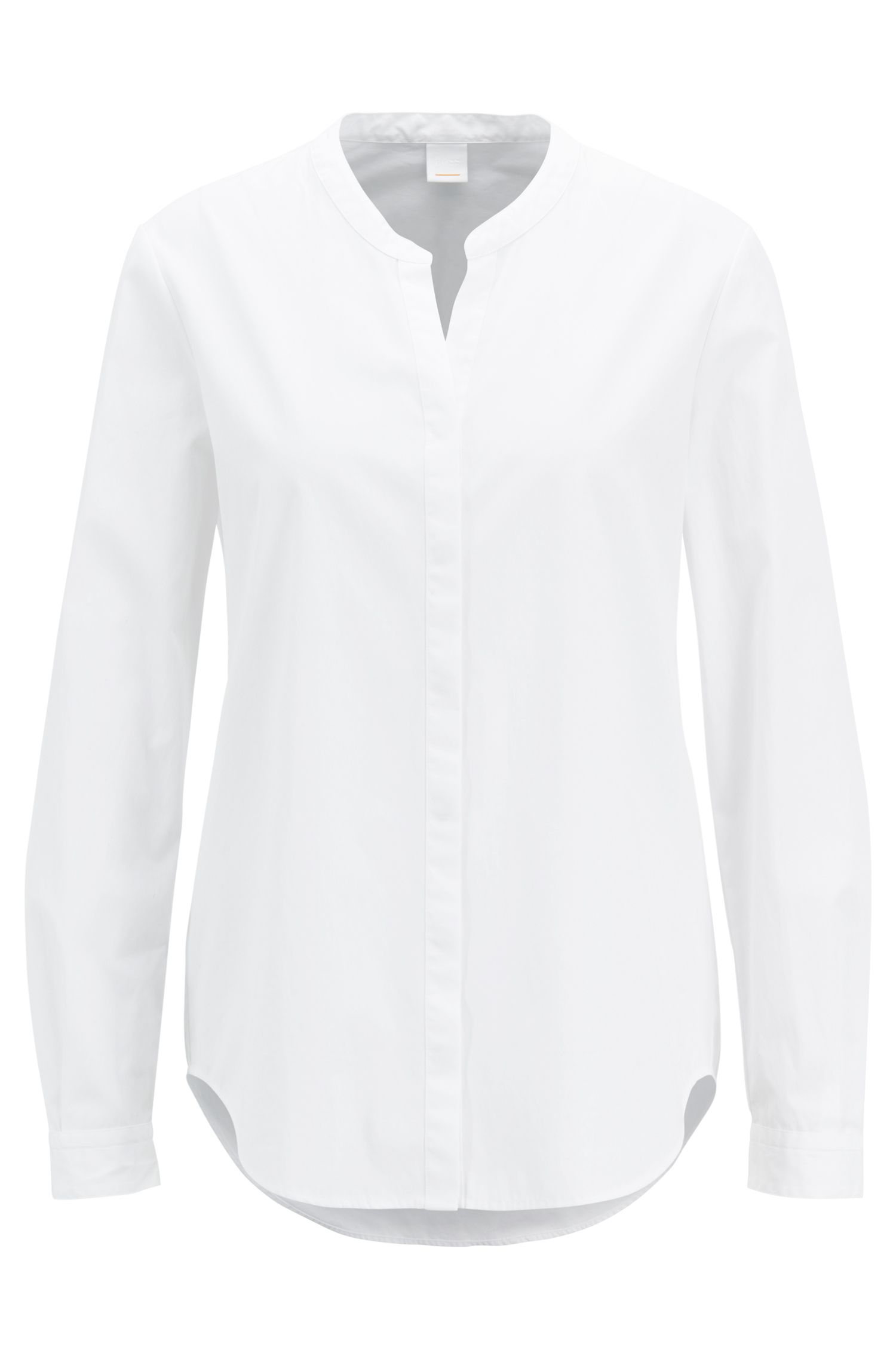 Relaxed-fit cotton-poplin blouse with notched neckline