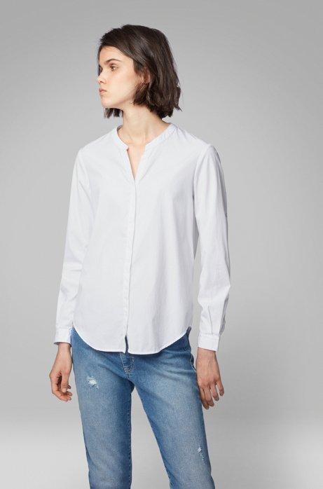 Relaxed-Fit Bluse aus Baumwoll-Popeline mit Kerb-Ausschnitt, Weiß