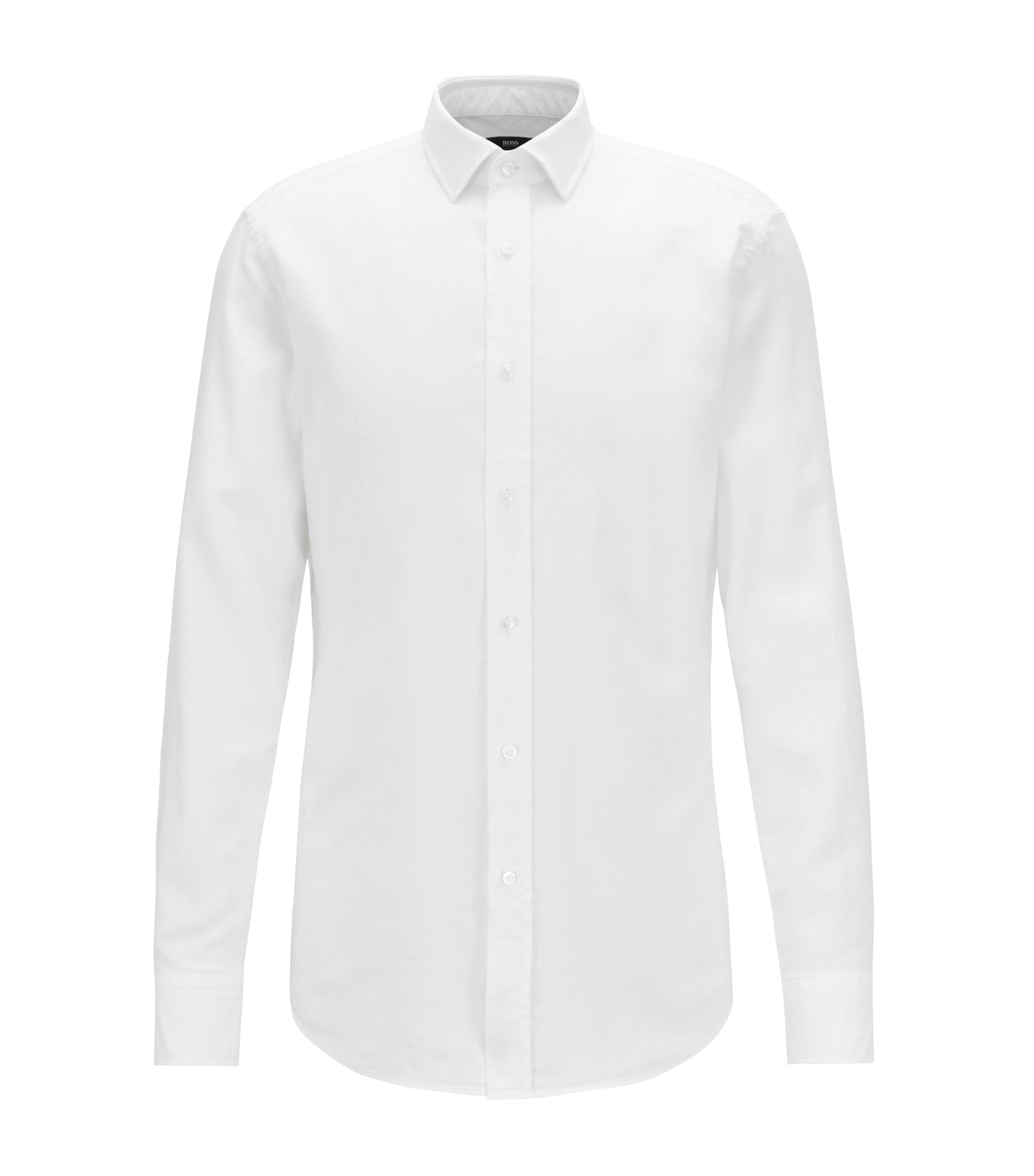 Slim-fit shirt in cotton with micro structure, White