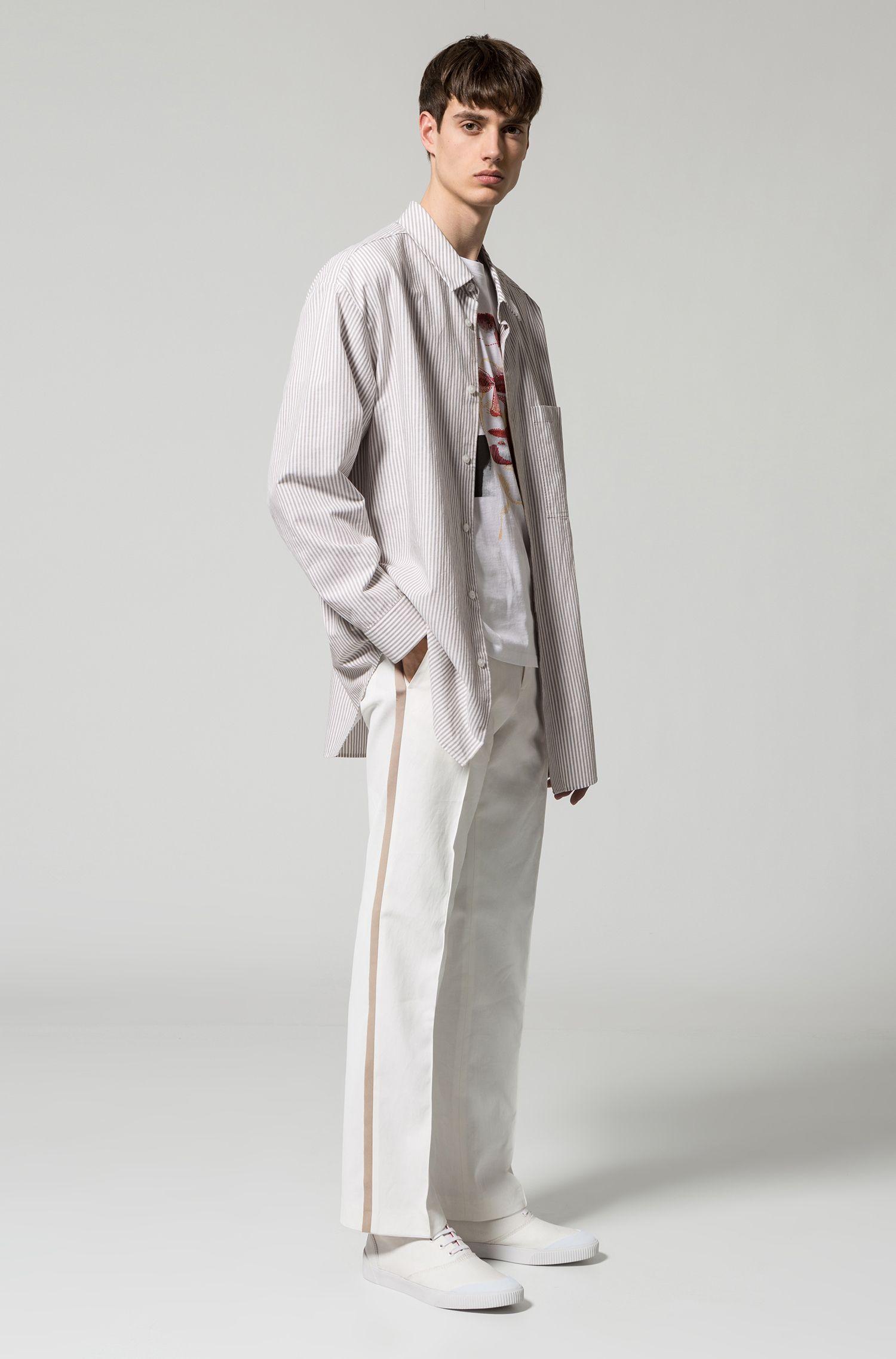 Gestreiftes Oversized Hemd aus Baumwoll-Mix mit Leinen