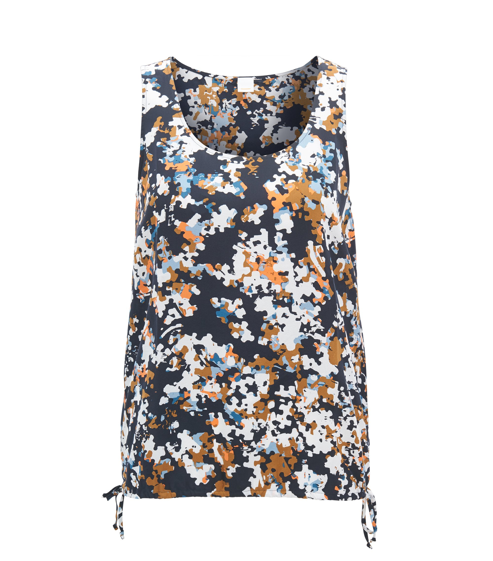 Sleeveless silk blouse with all-over puzzle print, Patterned