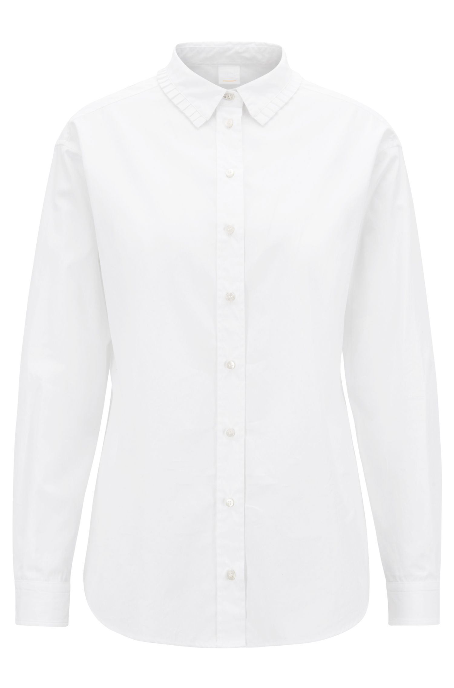 Relaxed-fit cotton blouse with plissé collar, White