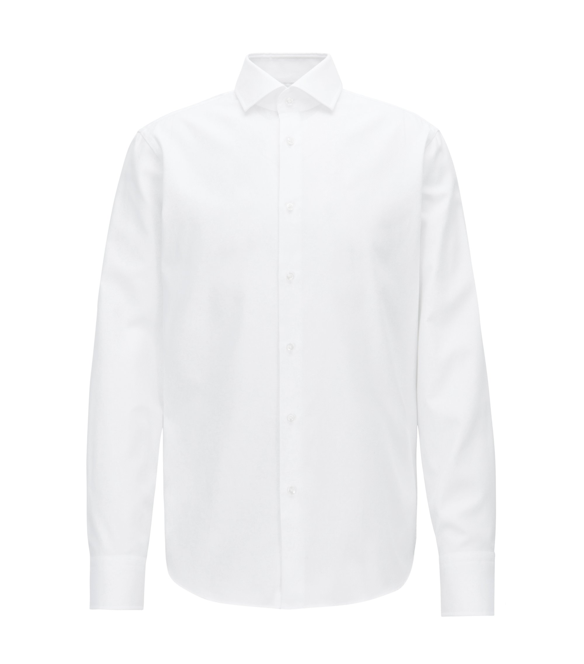 Regular-fit shirt in pure cotton with diagonal structure, White