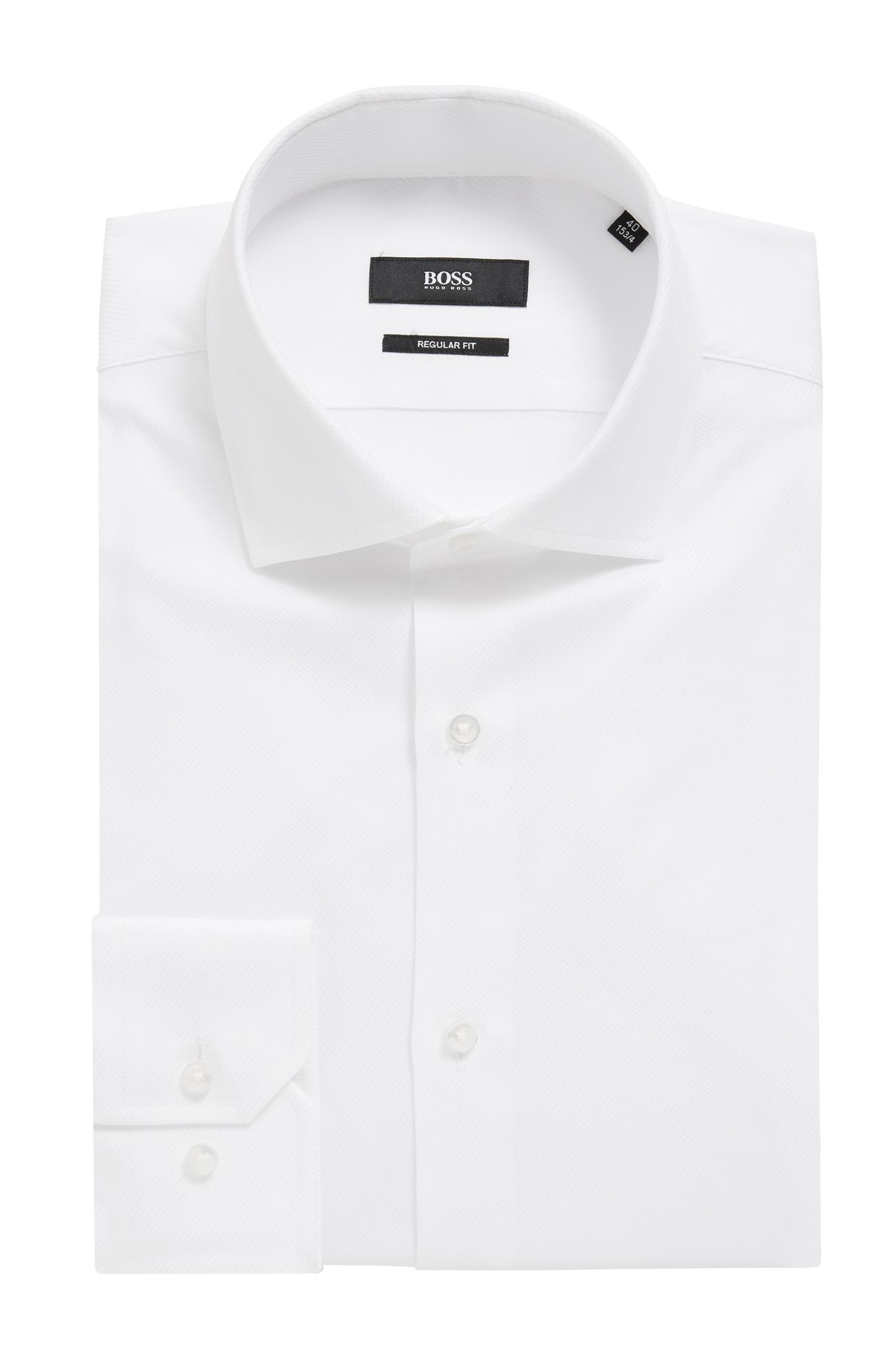 Regular-fit shirt in pure cotton with diagonal structure
