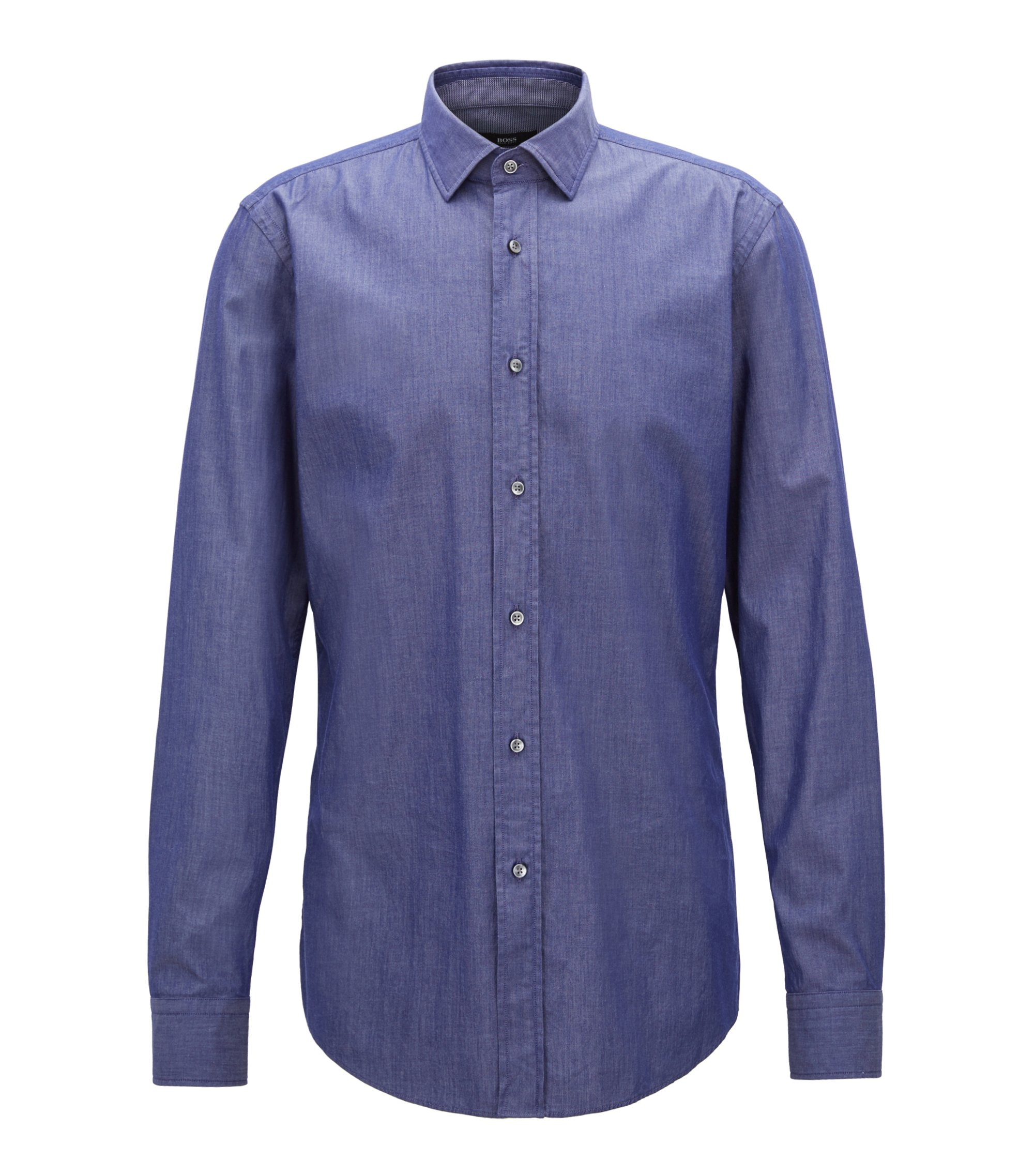 Slim-fit shirt in denim-inspired stretch twill, Dark Blue