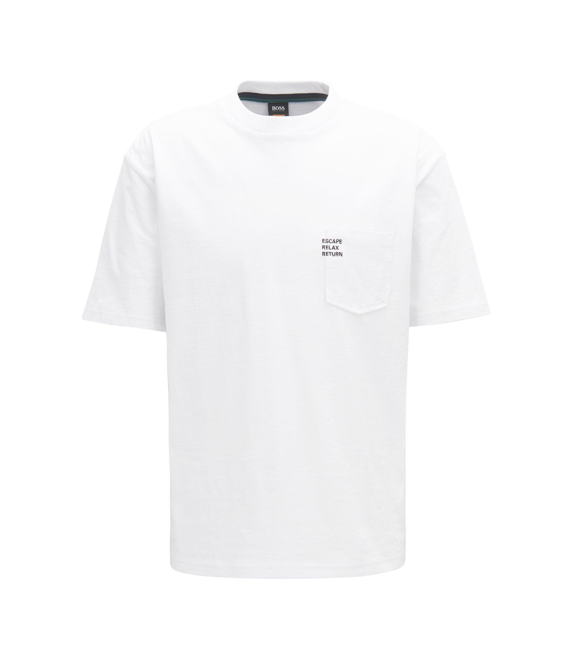 Kastenförmig geschnittenes T-Shirt aus schwerem Baumwoll-Jersey mit Slogan, Weiß