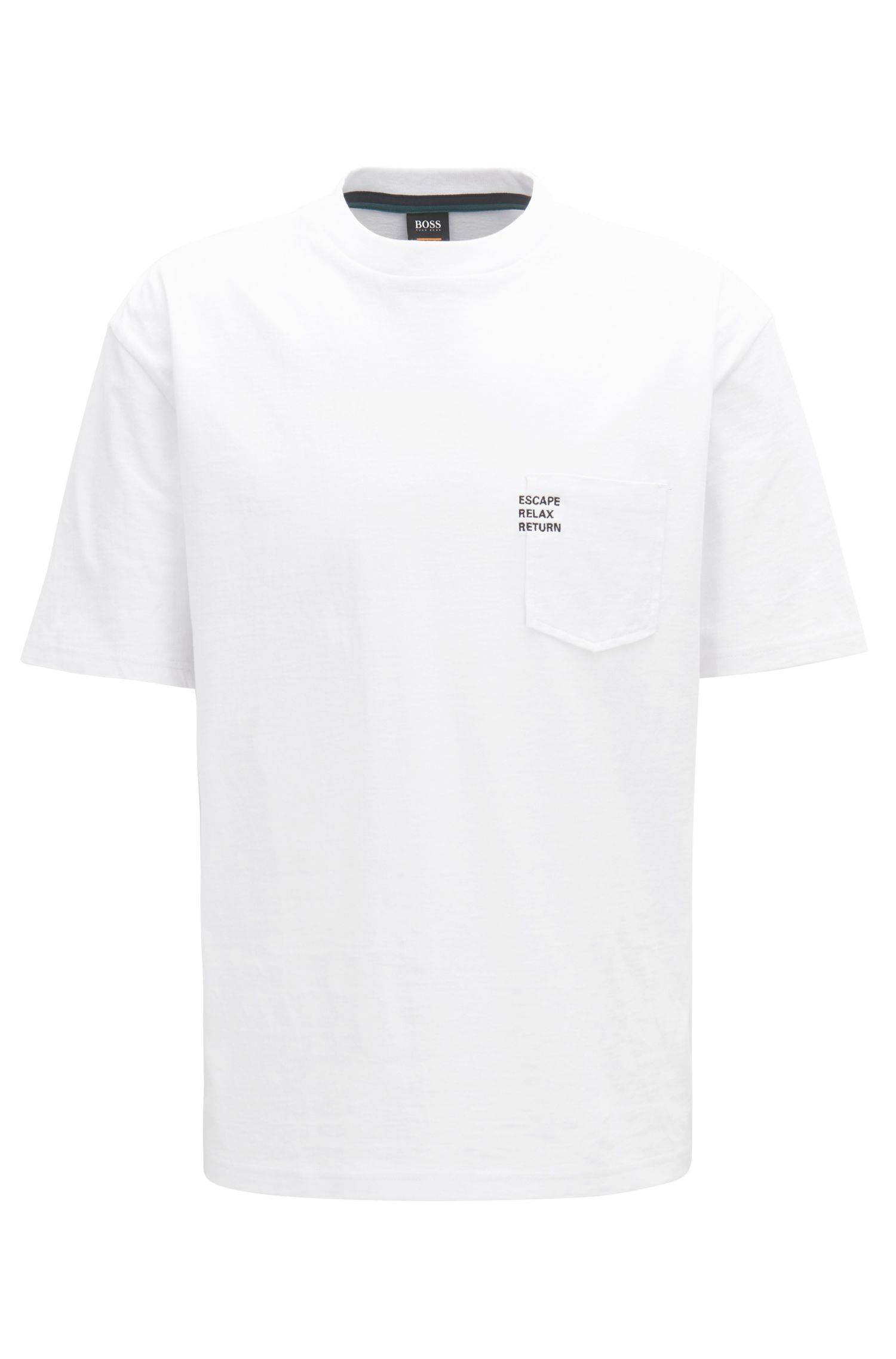 Boxy-fit slogan T-shirt in heavy cotton jersey