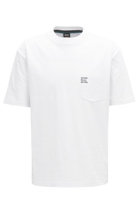 BOSS - Boxy-fit slogan T-shirt in heavy cotton jersey