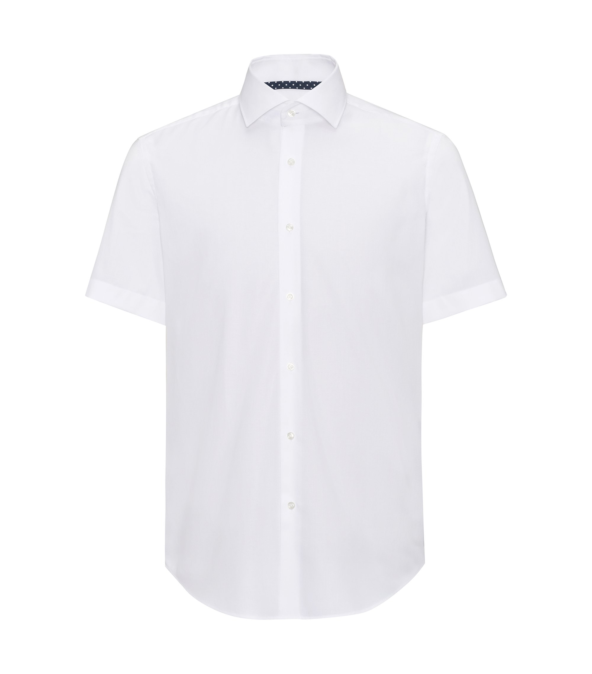 Regular-fit short-sleeved shirt in easy-iron cotton, White