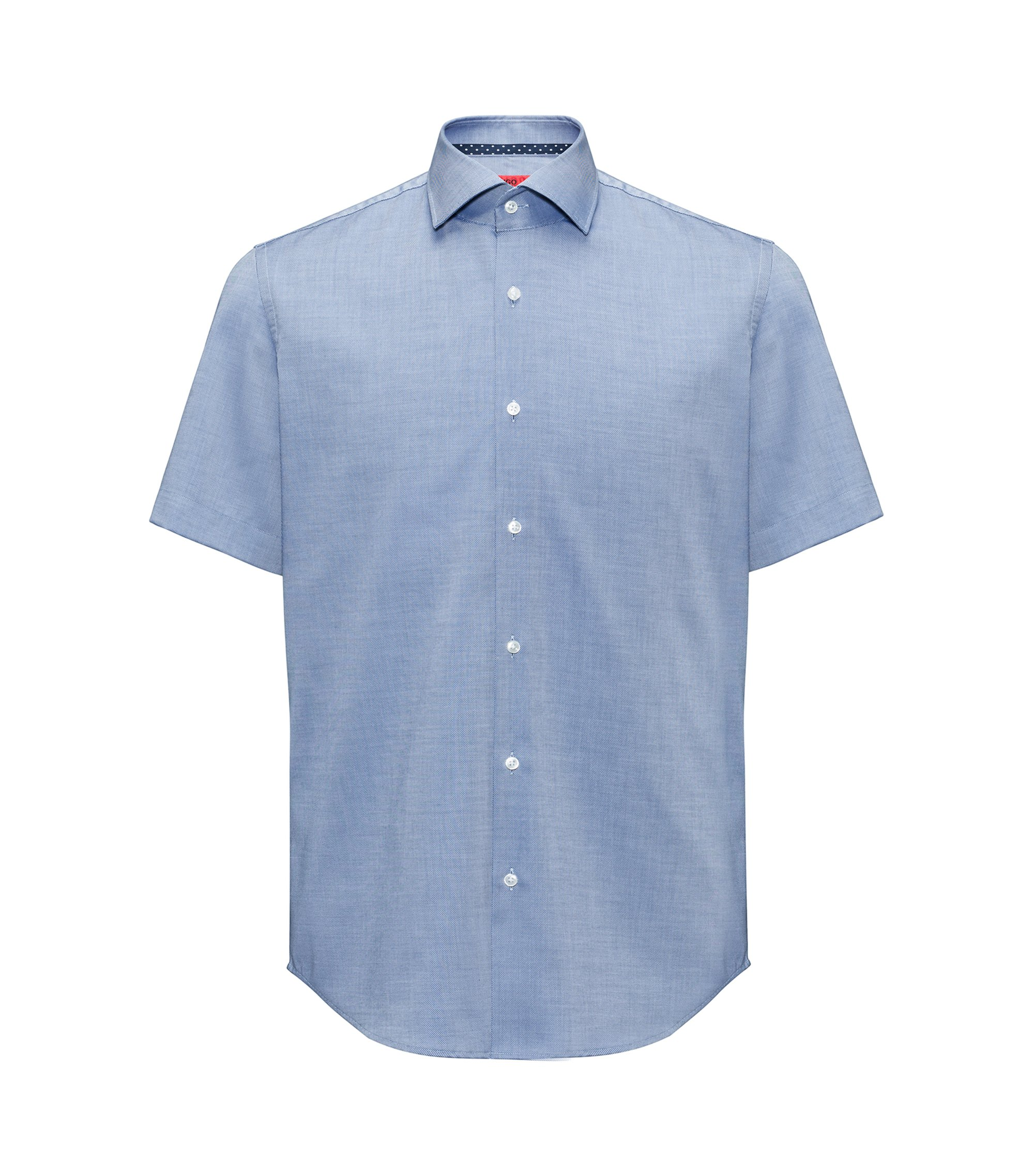 Regular-fit short-sleeved shirt in easy-iron cotton, Blue