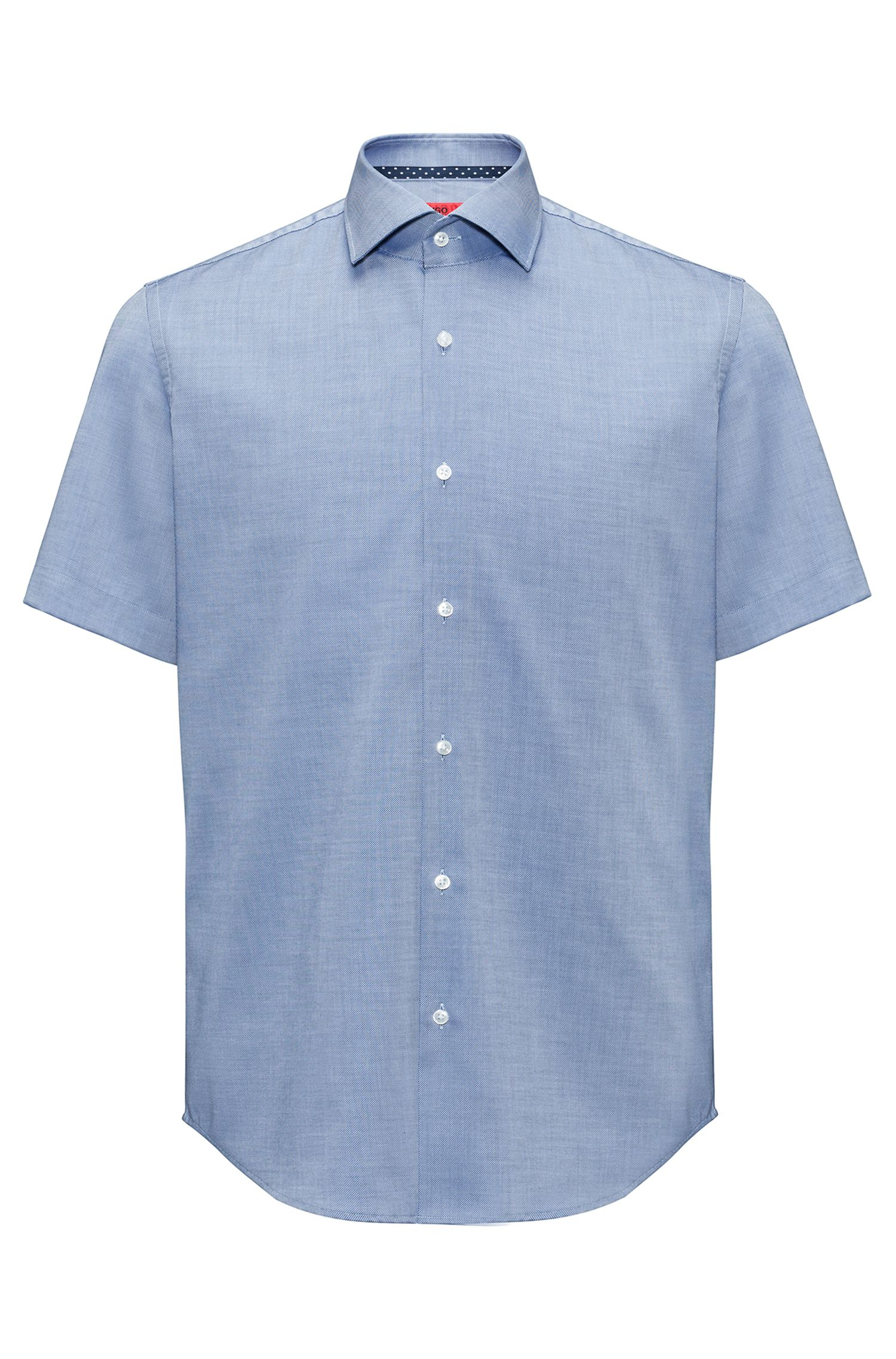 Regular-fit short-sleeved shirt in easy-iron cotton