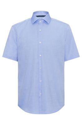 Chemise à manches courtes Regular Fit en coton facile à repasser, Bleu vif