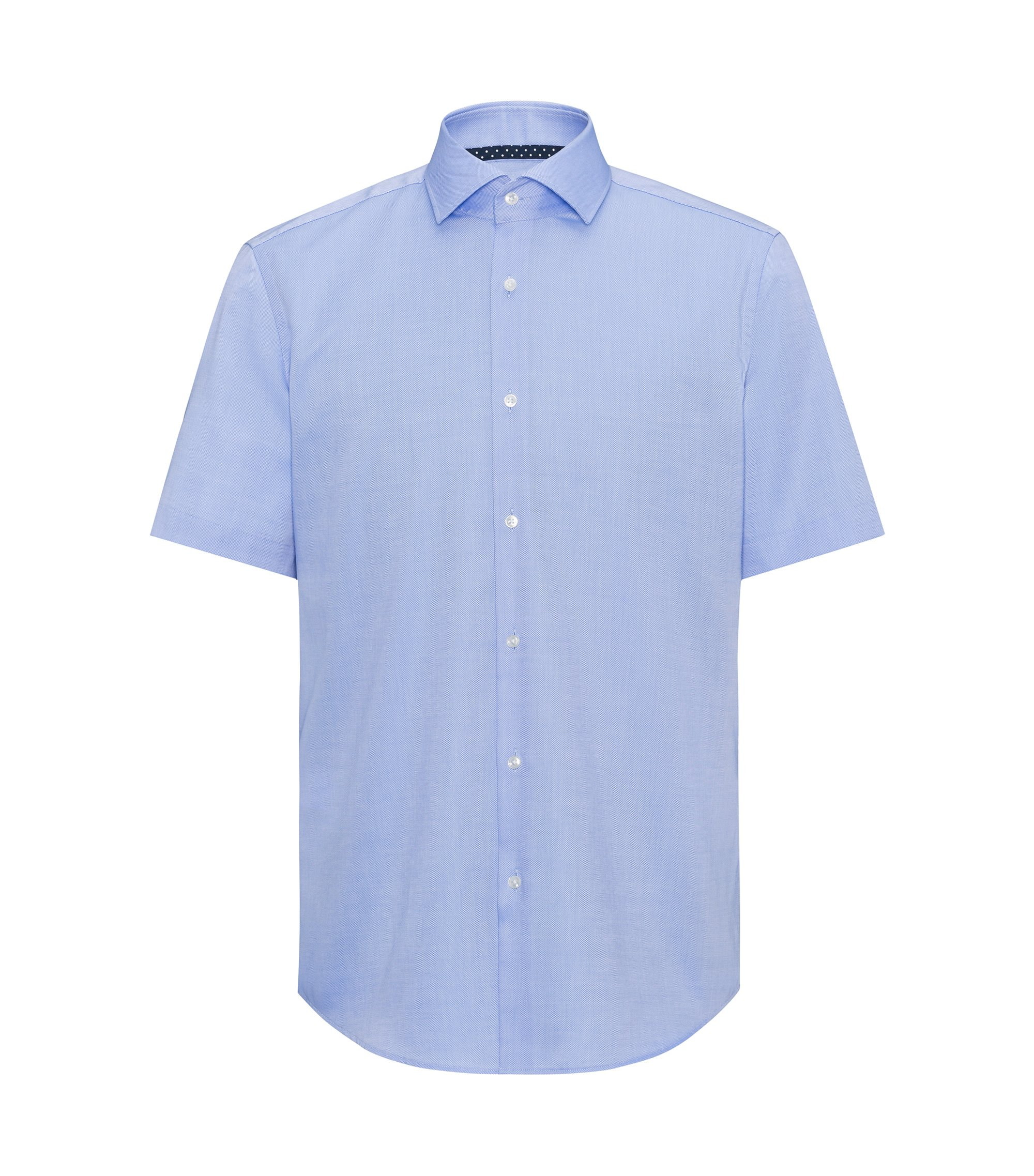 Camicia a maniche corte regular fit in cotone facile da stirare, Celeste