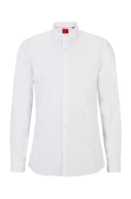 Slim-fit shirt in cotton poplin with spread collar, White