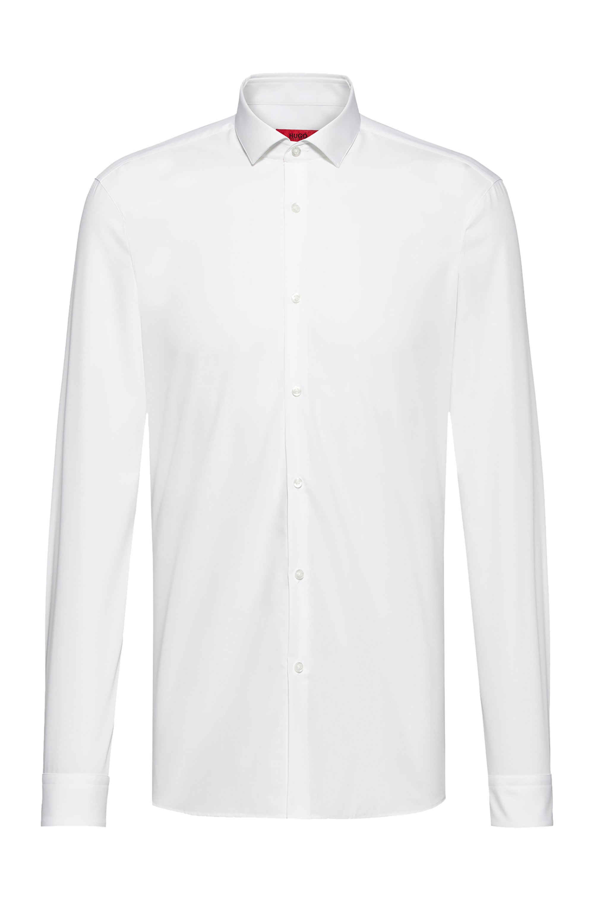 Extra-slim-fit overhemd in katoenen popeline met een gespreide kraag, Wit