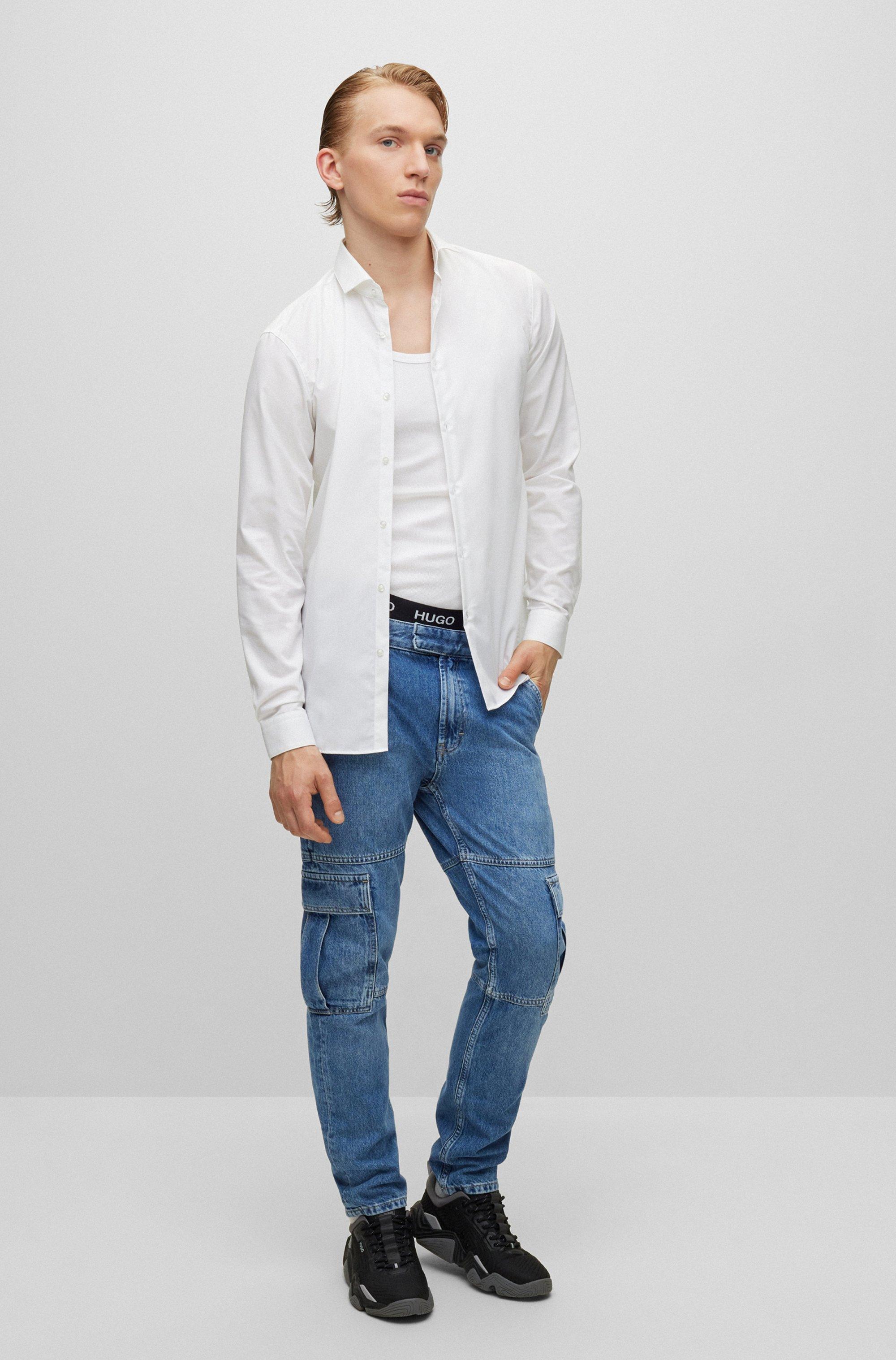 Extra-slim-fit Hemd aus Baumwoll-Popeline mit Cutaway-Kragen