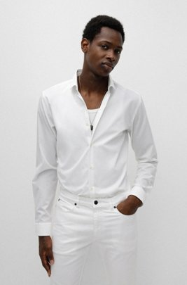 Extra-slim-fit shirt in cotton poplin with spread collar, White