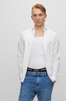 Chemise Slim Fit en popeline de coton à col italien, Blanc