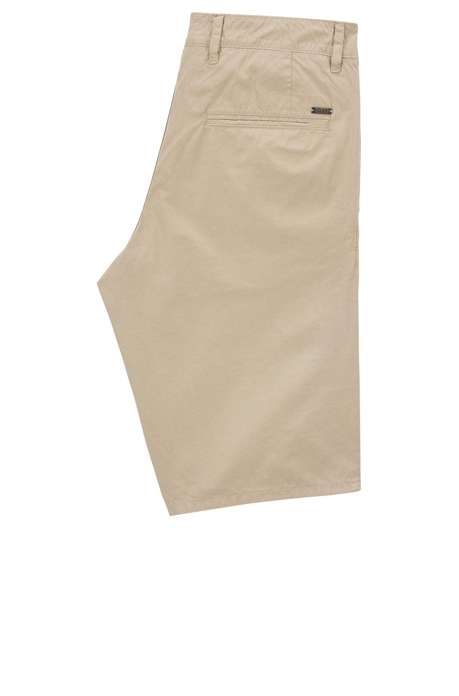 Shorts slim fit en popelín de algodón con teñido especial, Beige