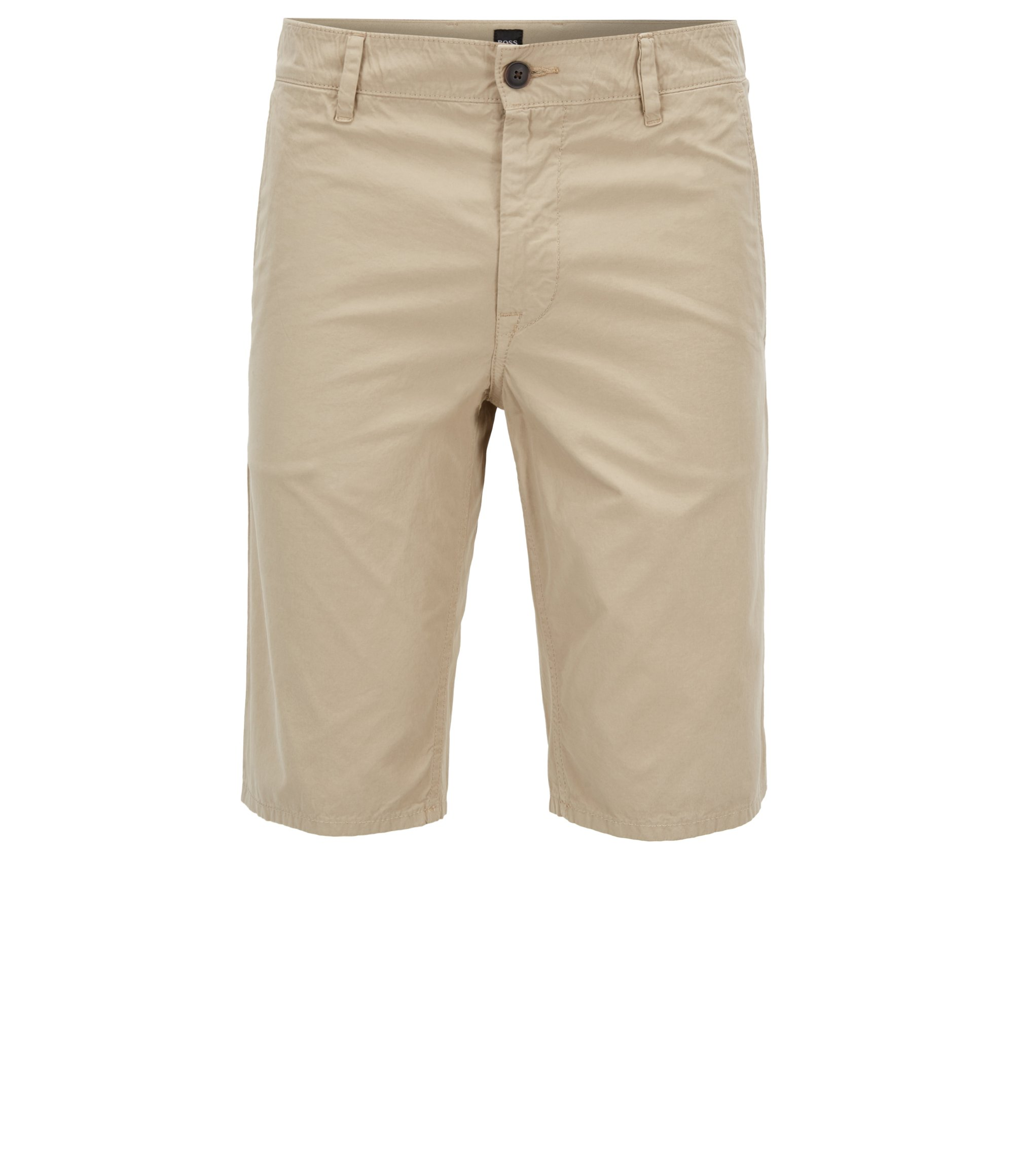 Slim-fit shorts in overdyed cotton poplin, Beige