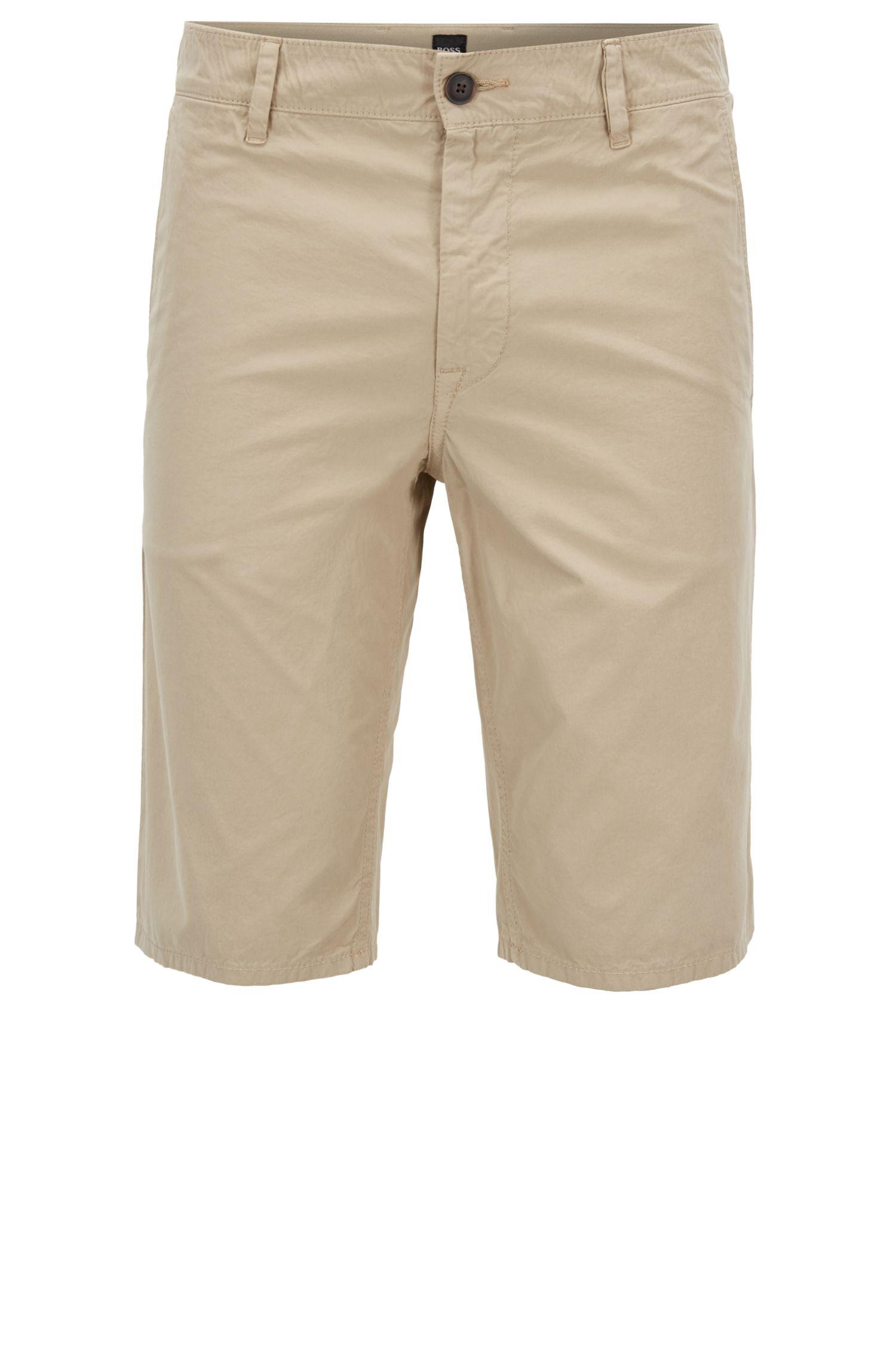 Slim-Fit Shorts aus überfärbter Baumwoll-Popeline, Beige