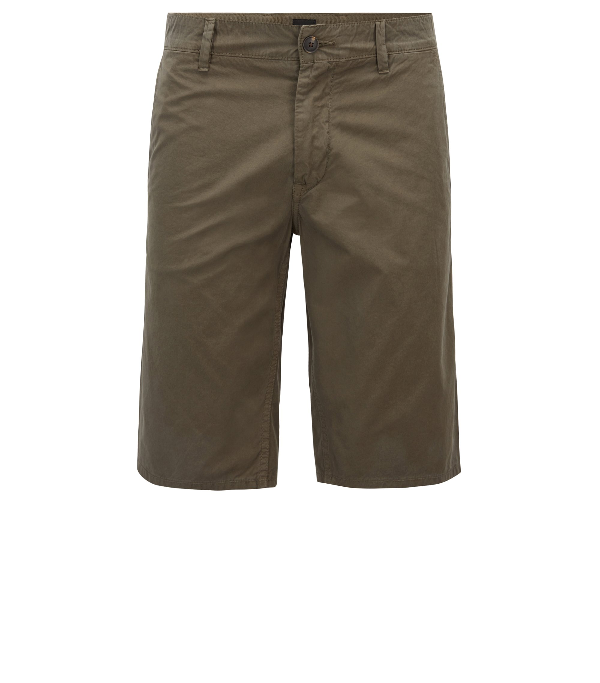 Slim-fit shorts in overdyed cotton poplin, Dark Green