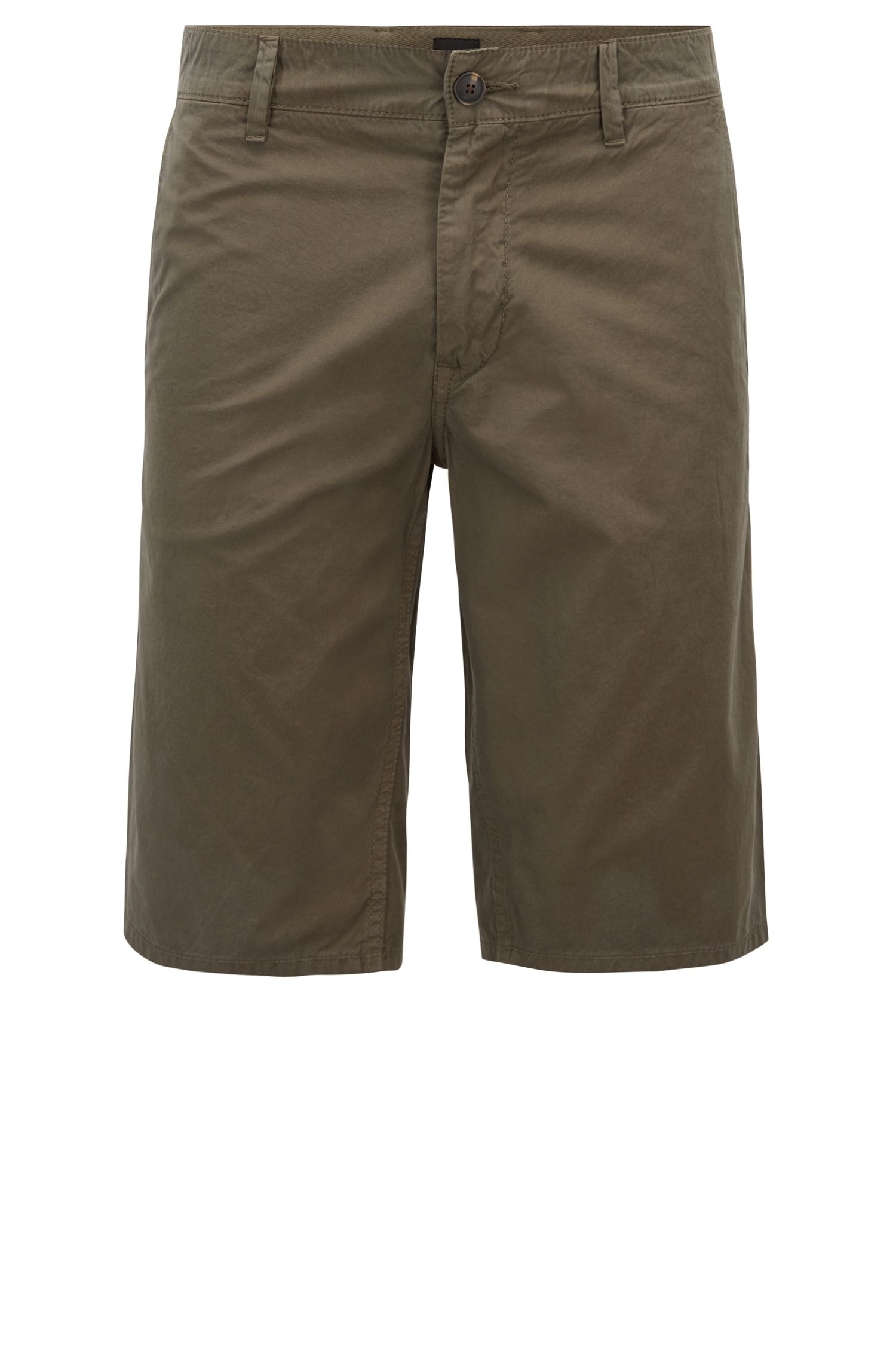 Slim-fit shorts in overdyed cotton poplin, Dark Green
