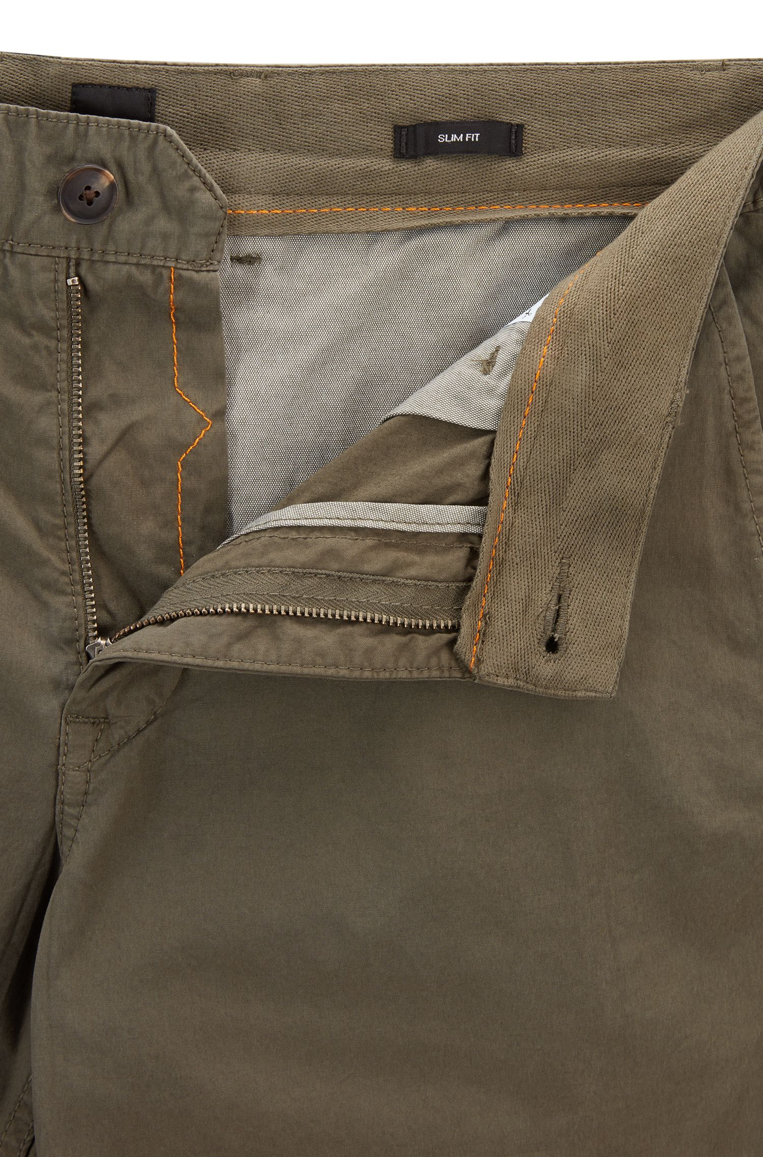 Slim-fit shorts in overdyed cotton poplin