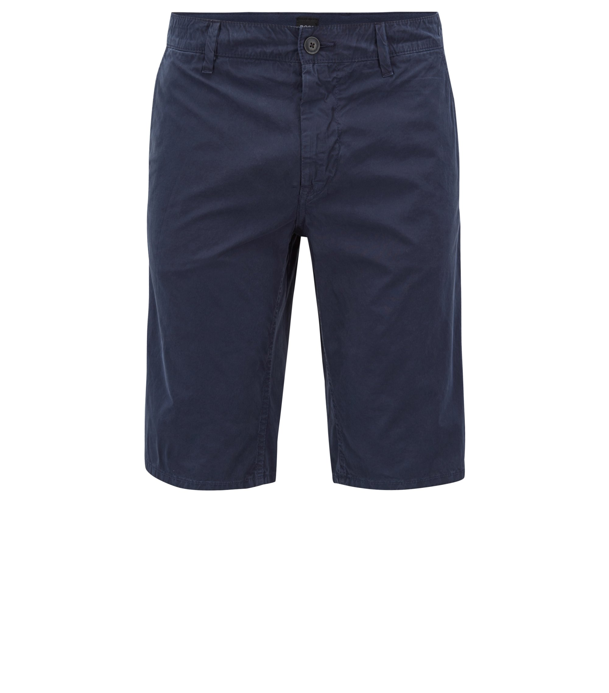 Slim-fit shorts in overdyed cotton poplin, Dark Blue