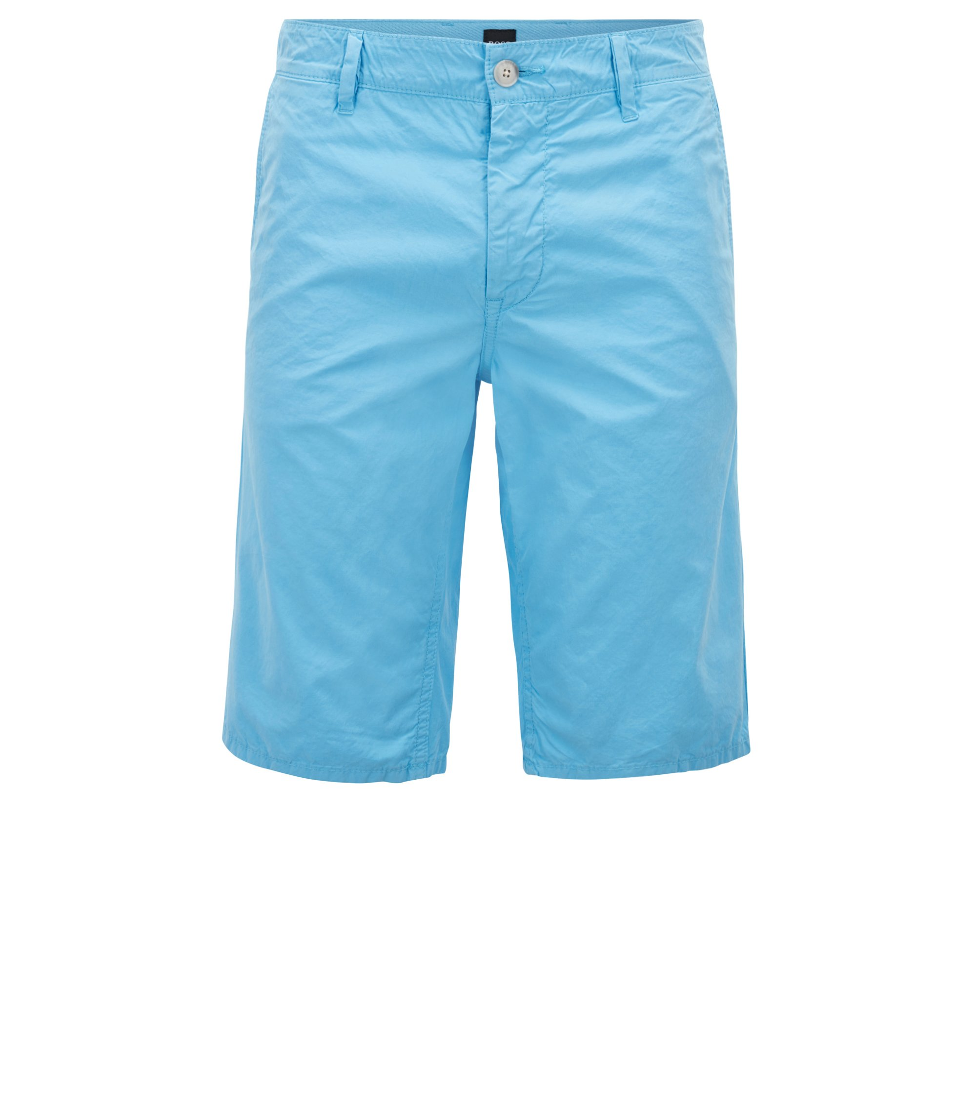 Slim-fit shorts in overdyed cotton poplin, Light Blue
