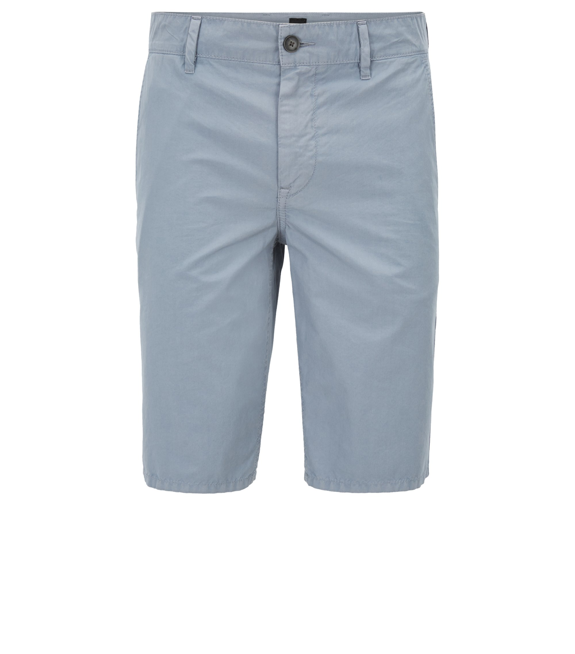 Shorts slim fit en popelín de algodón con teñido especial, Azul