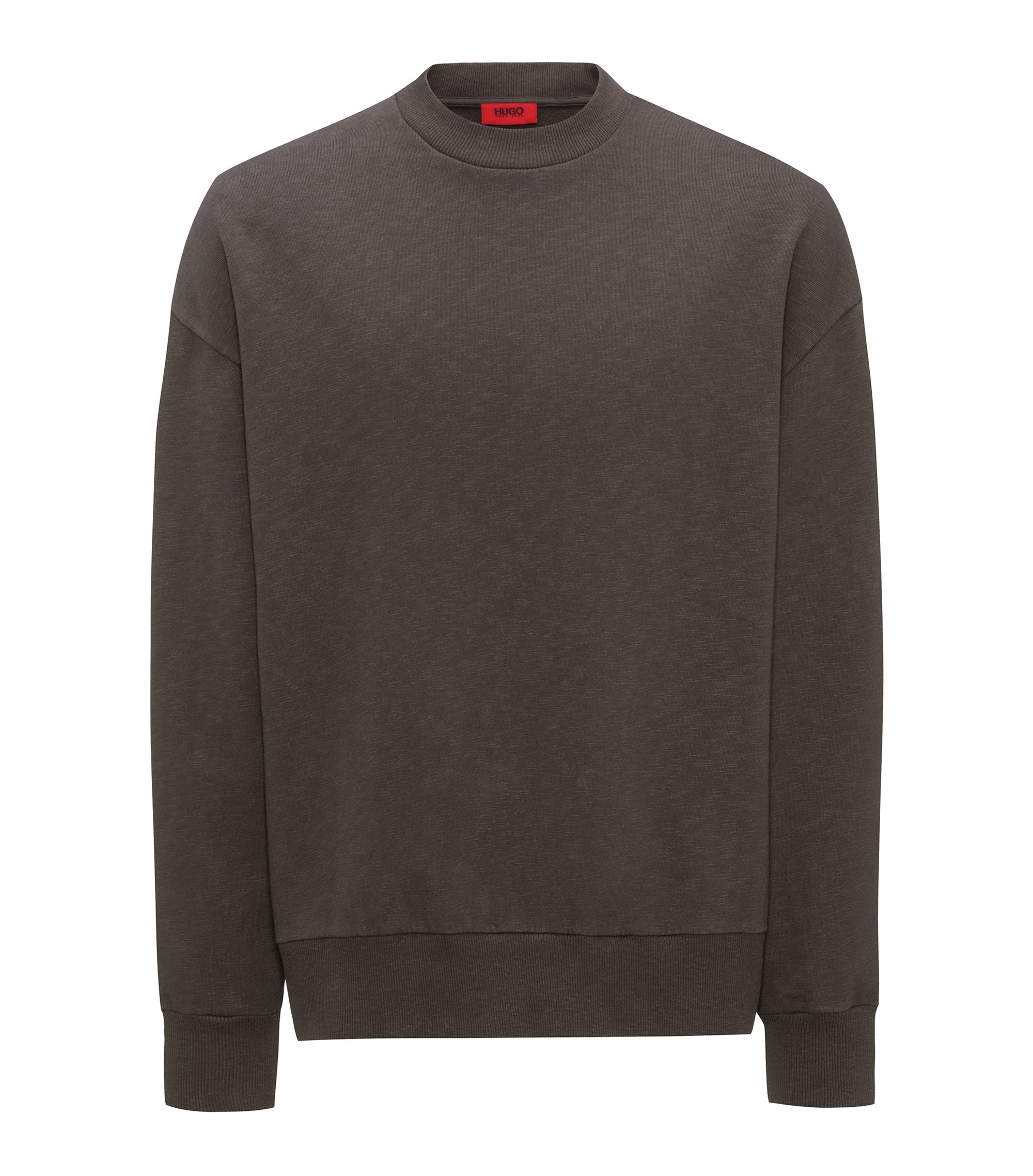 Oversized-fit sweatshirt in slub French terry, Brown