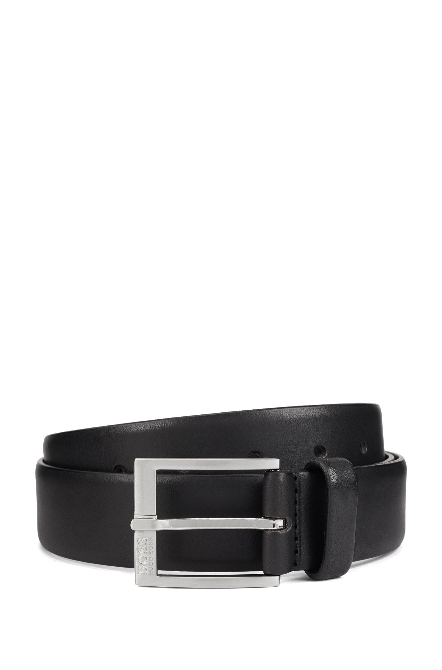 Smooth-leather belt with brushed-silver buckle, Black