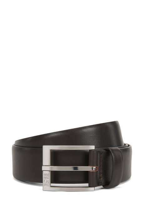 Smooth-leather belt with brushed-silver buckle, Dark Brown