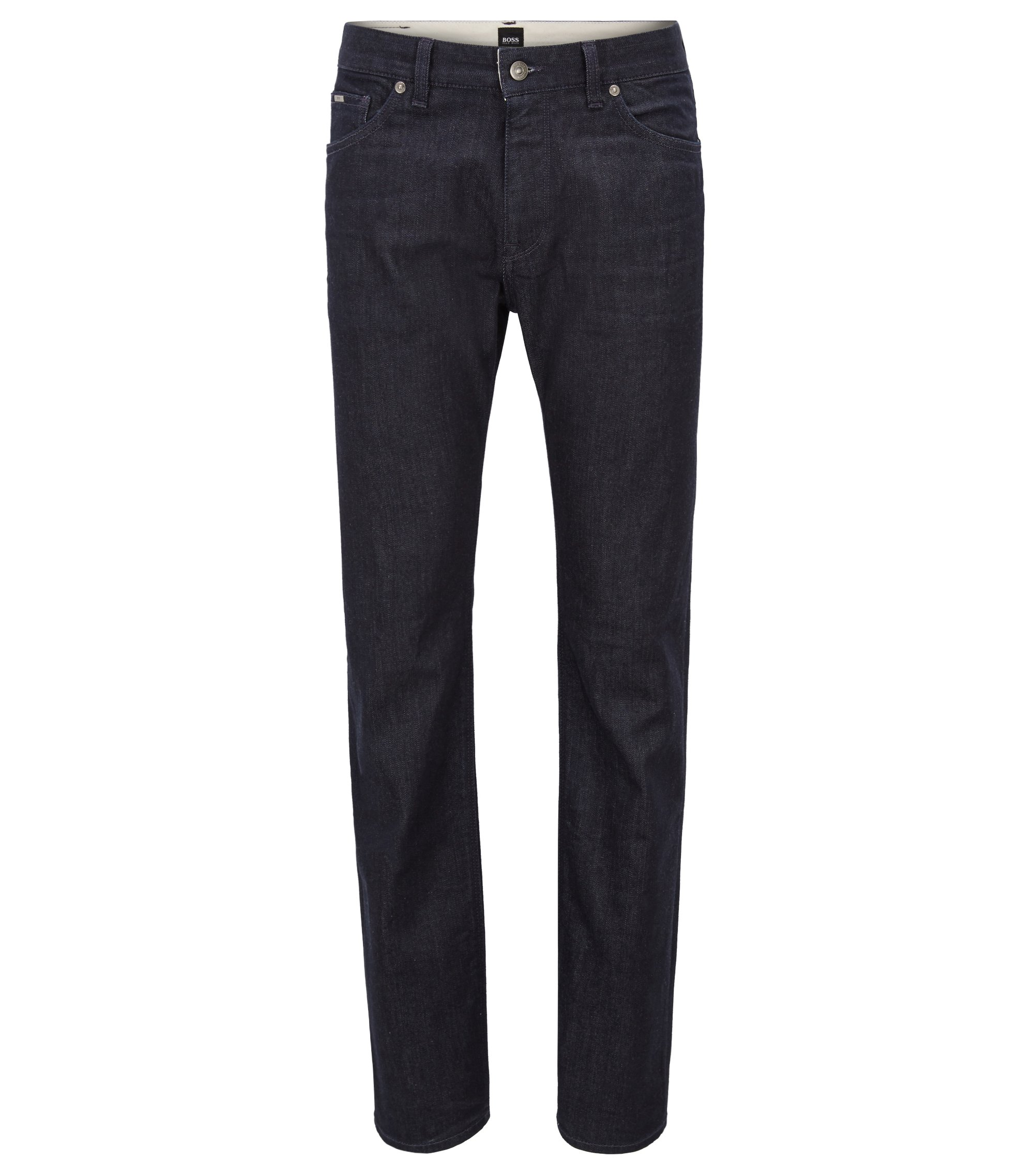 Jeans regular fit in denim elasticizzato con cuciture a zigzag, Blu scuro