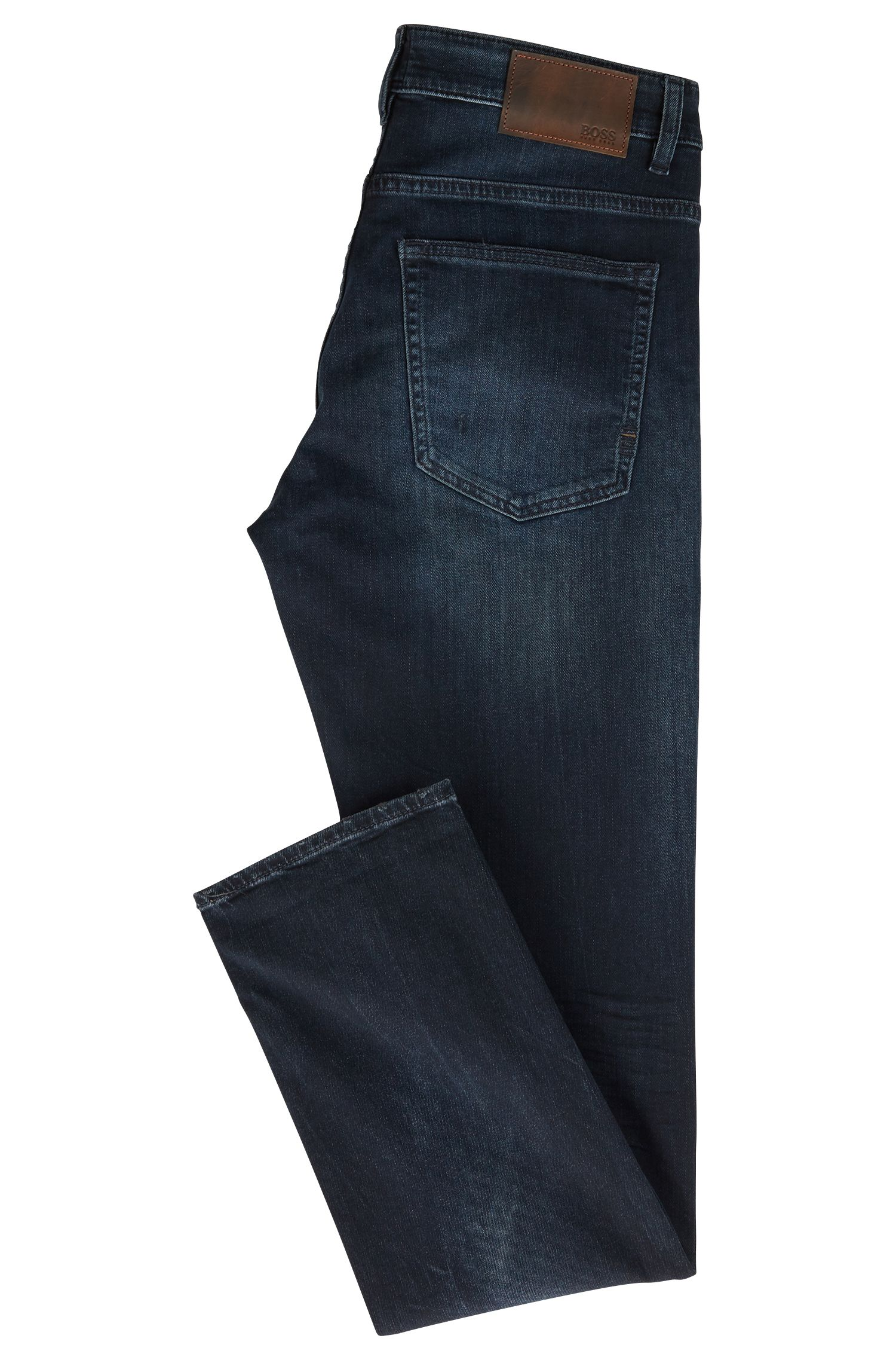 Jeans slim fit in denim blu-nero effetto usurato, Blu scuro